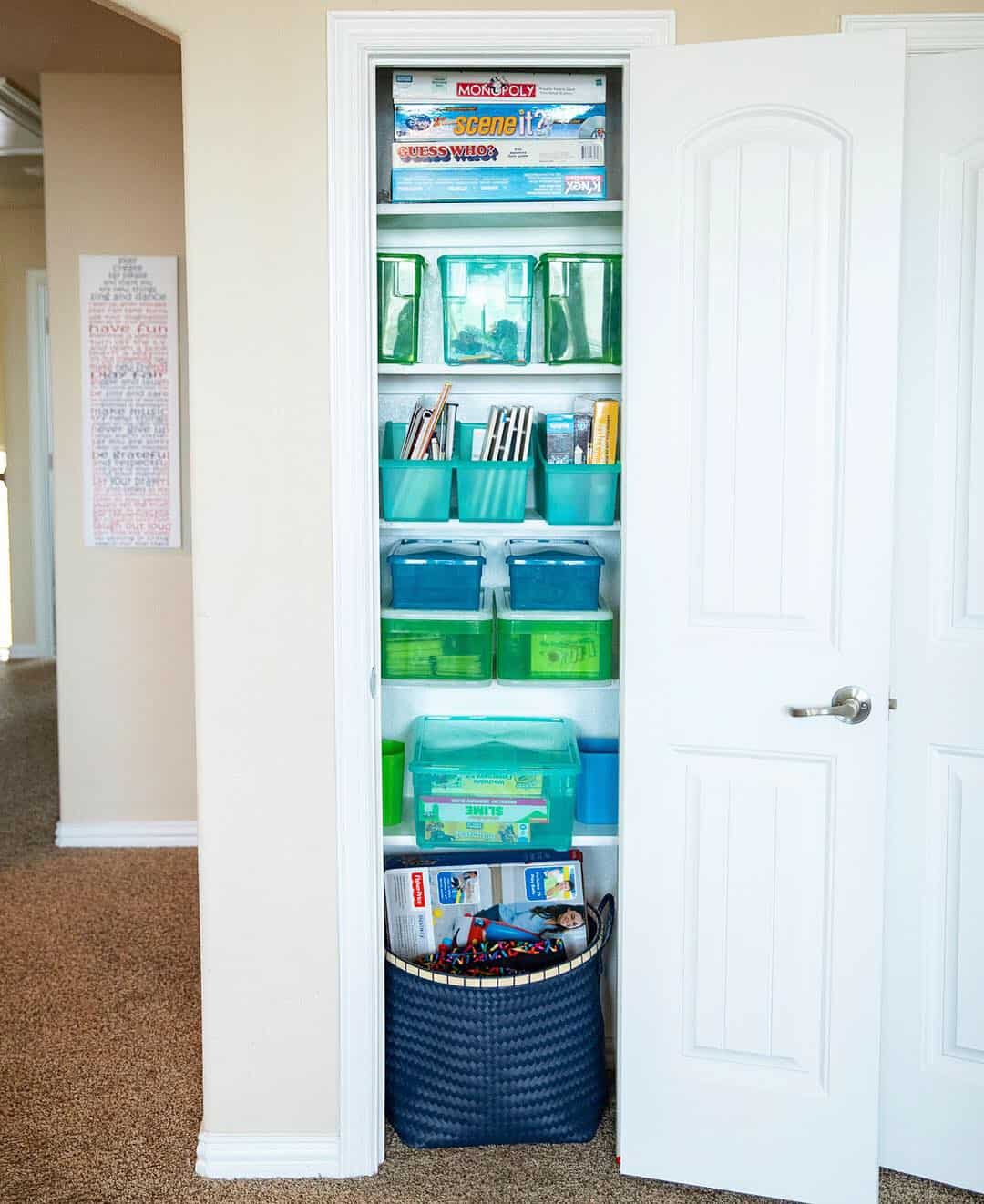Toy Closet Organization Tips Under $100 featured by top US lifestyle blog, Glamorous Versatility | Top Home Organization Projects of 2019 by popular Dallas life and style blog, Glamorous Versatility: image of an organized toy closet.