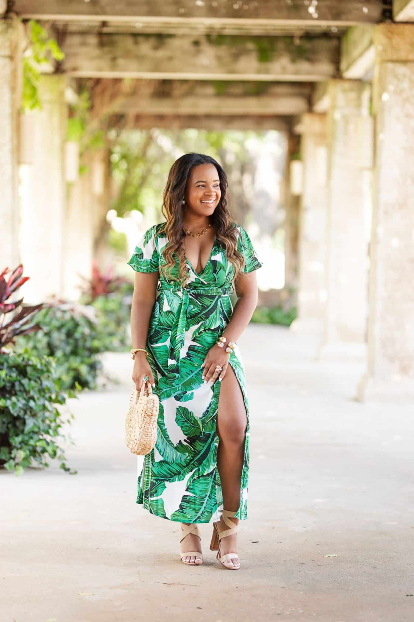 How To Shop for Outfits Under $100 featured by top US fashion blog, Glamorous Versatility: image of a woman wearing a palm print maxi dress