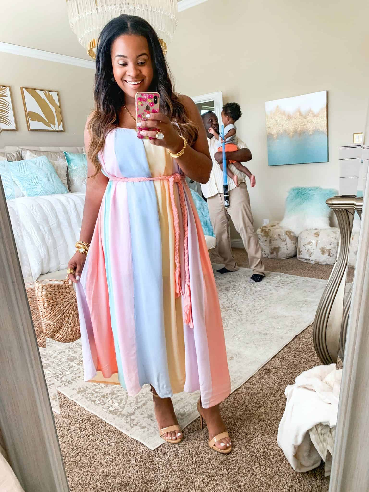 Red Dress Boutique summer favorites featured by top US fashion blog, Glamorous Versatility: image of a woman wearing a rainbow maxi dress