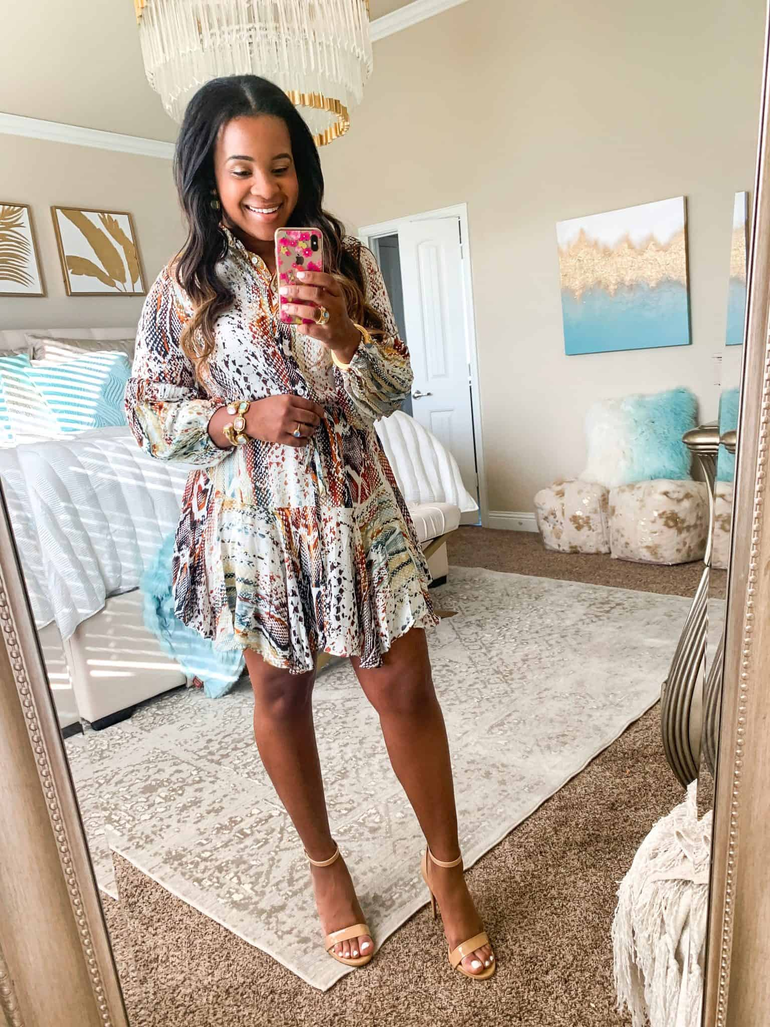 Red Dress Boutique Try-On featured by top US fashion blog, Glamorous Versatility: image of a woman wearing a Red Dress Boutique snake print dress