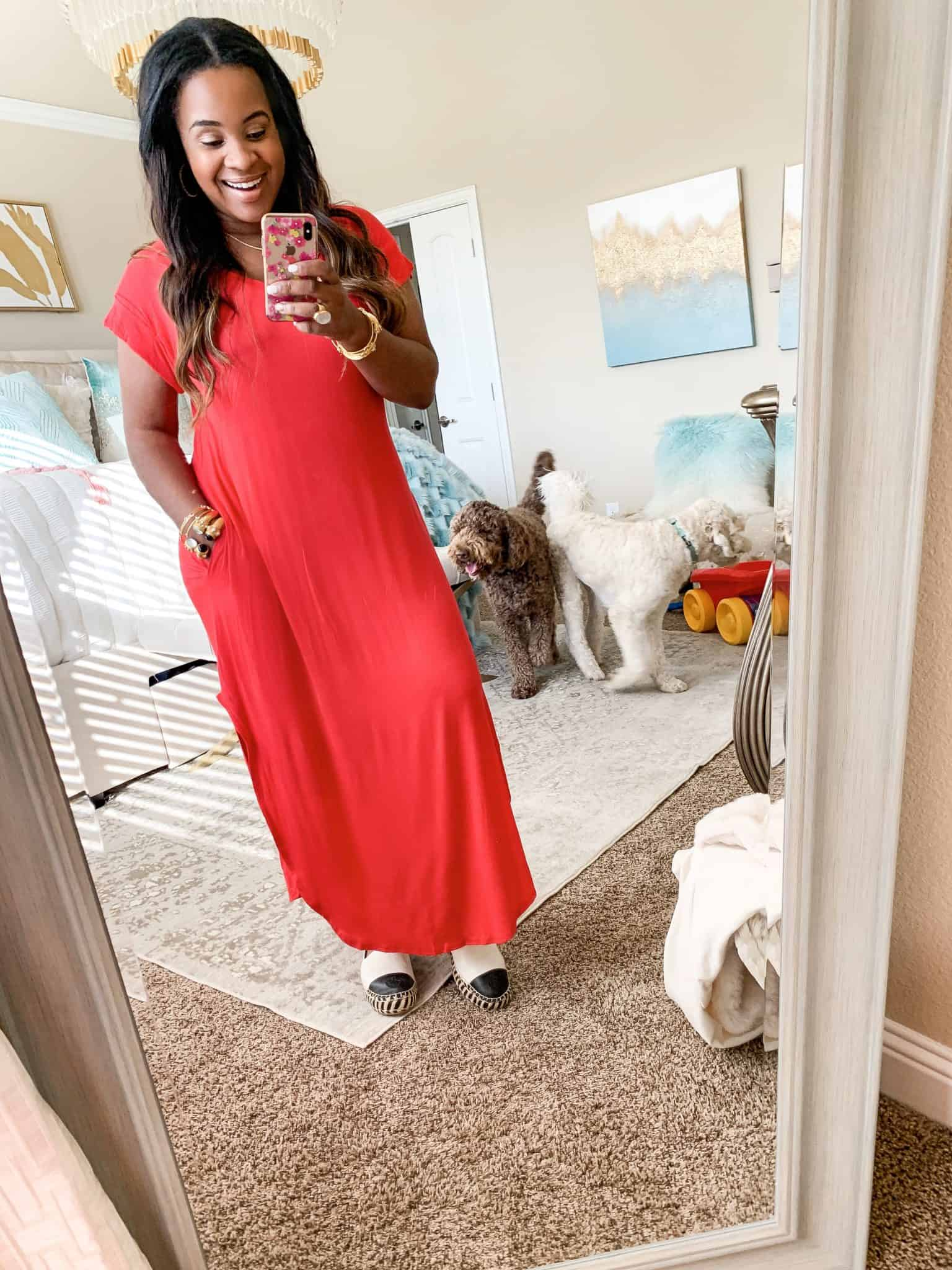 Red Dress Boutique summer favorites featured by top US fashion blog, Glamorous Versatility: image of a woman wearing a red maxi dress