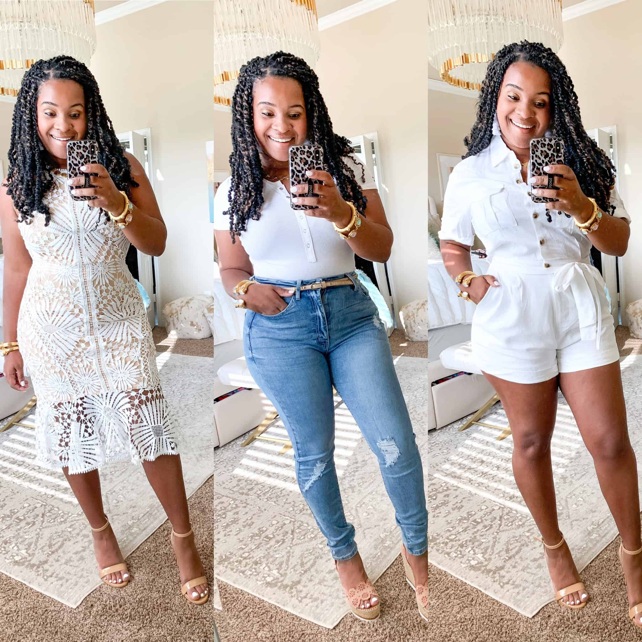 How To Wear White Before & After Labor Day by popular Dallas fashion blog, Glamorous Versatility: collage image of a woman wearing a white lace dress, white button up shirt, and white romper from Red Dress Boutique.