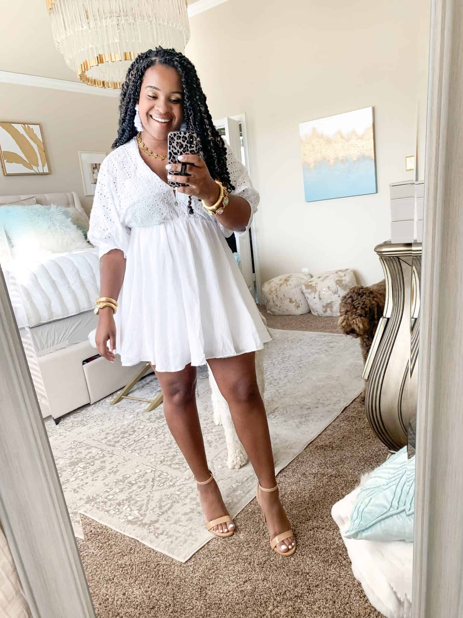 How To Wear White Before & After Labor Day by popular Dallas fashion blog, Glamorous Versatility: image of a woman wearing Red Dress boutique Fly Me Home White Eyelet Dress.