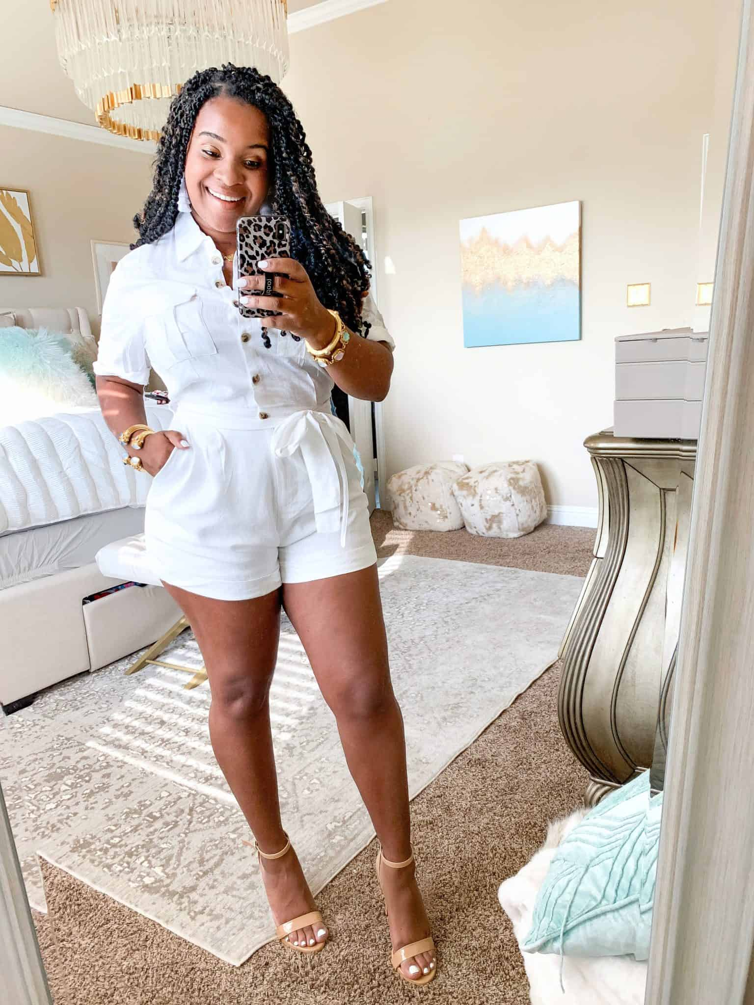 How To Wear White Before & After Labor Day by popular Dallas fashion blog, Glamorous Versatility: image of a woman wearing Red Dress boutique No Pouting White Romper.