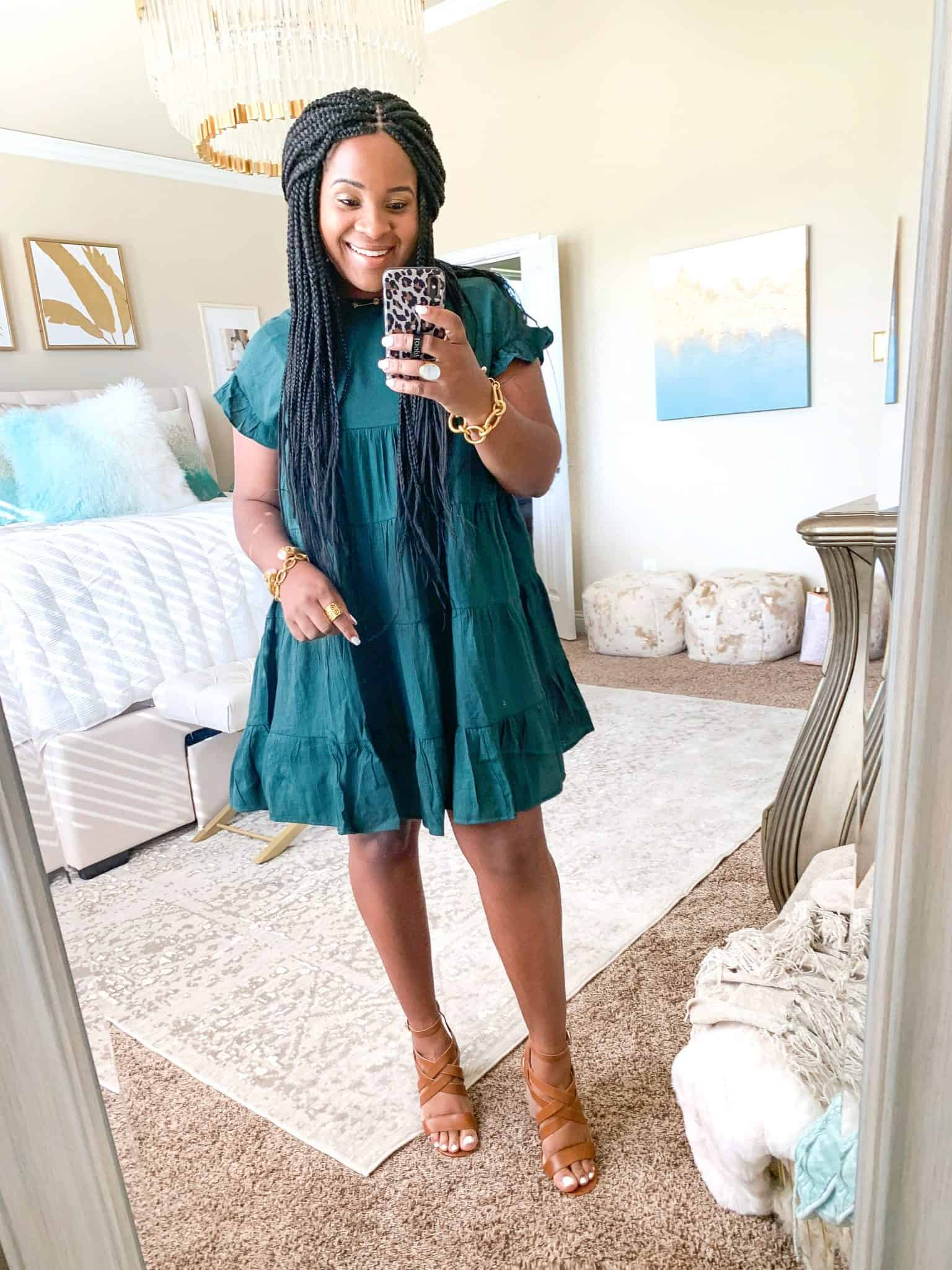 Red Dress Boutique Fall Collection Try On featured by top US fashion blog, Glamorous Versatility: image of a woman wearing a Green Dress