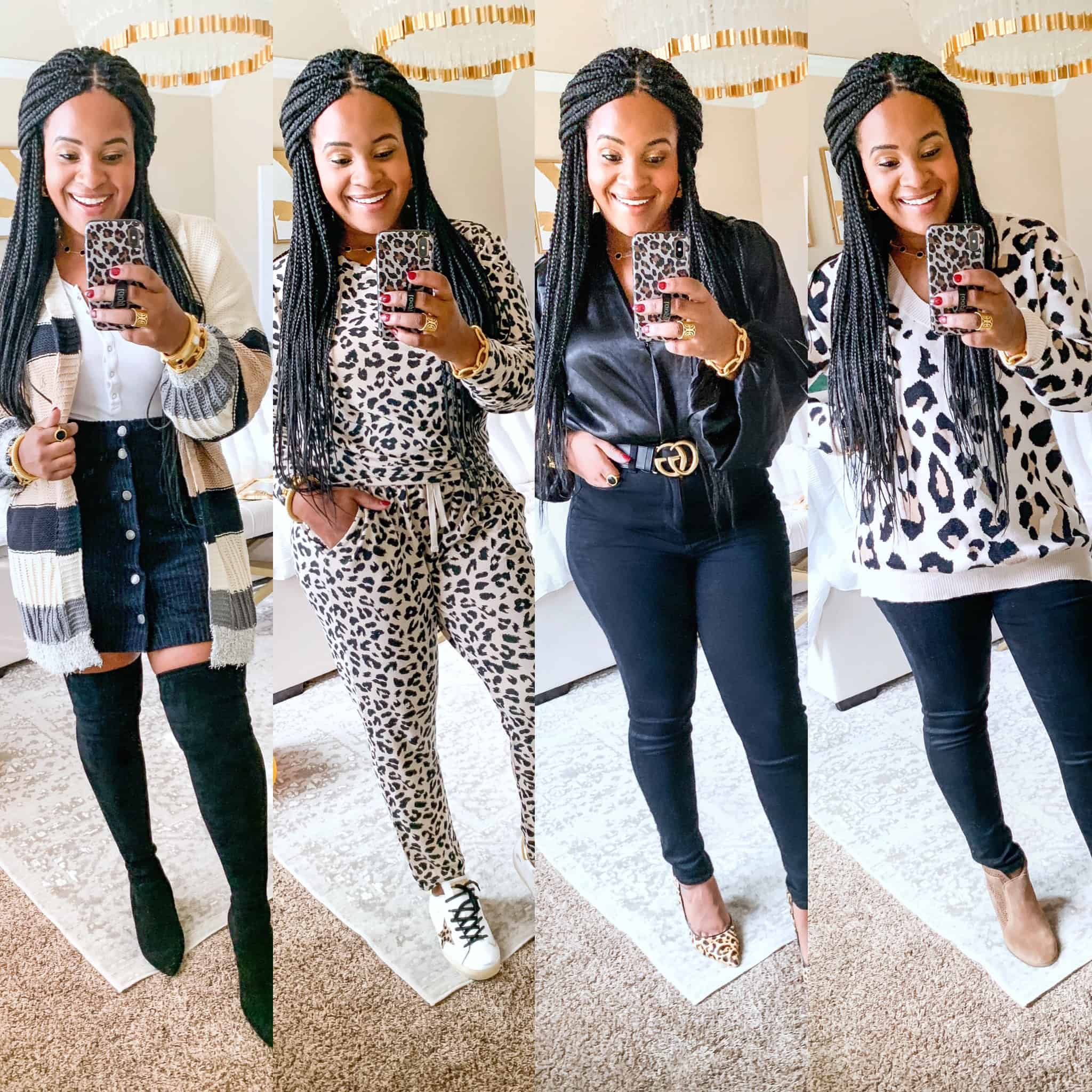 Red Dress Boutique Try On Fall 2019 by popular US fashion blog, Glamorous Versatility: image of a woman wearing 4 different outfits from the Red Dress Boutique.