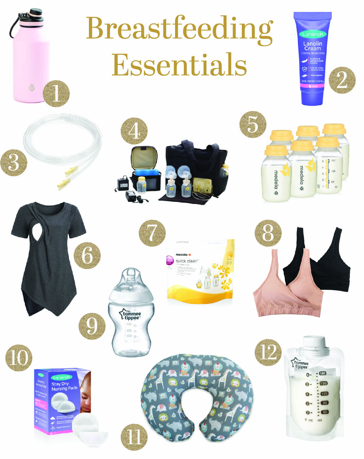 My Breastfeeding Essentials & Journey by popular Dallas life and style blog, Glamorous Versatility: collage image of Boppy pillow, nursing top, nursing bras, Medela bottles, Lansinoh Lanolin cream, breast pumping kit, Tommee Tippee bottle, Medela sanitizing bag, Lansinoh nursing pad, Tommee Tippee milk storage bag, water bottle and extra breast pumping parts.