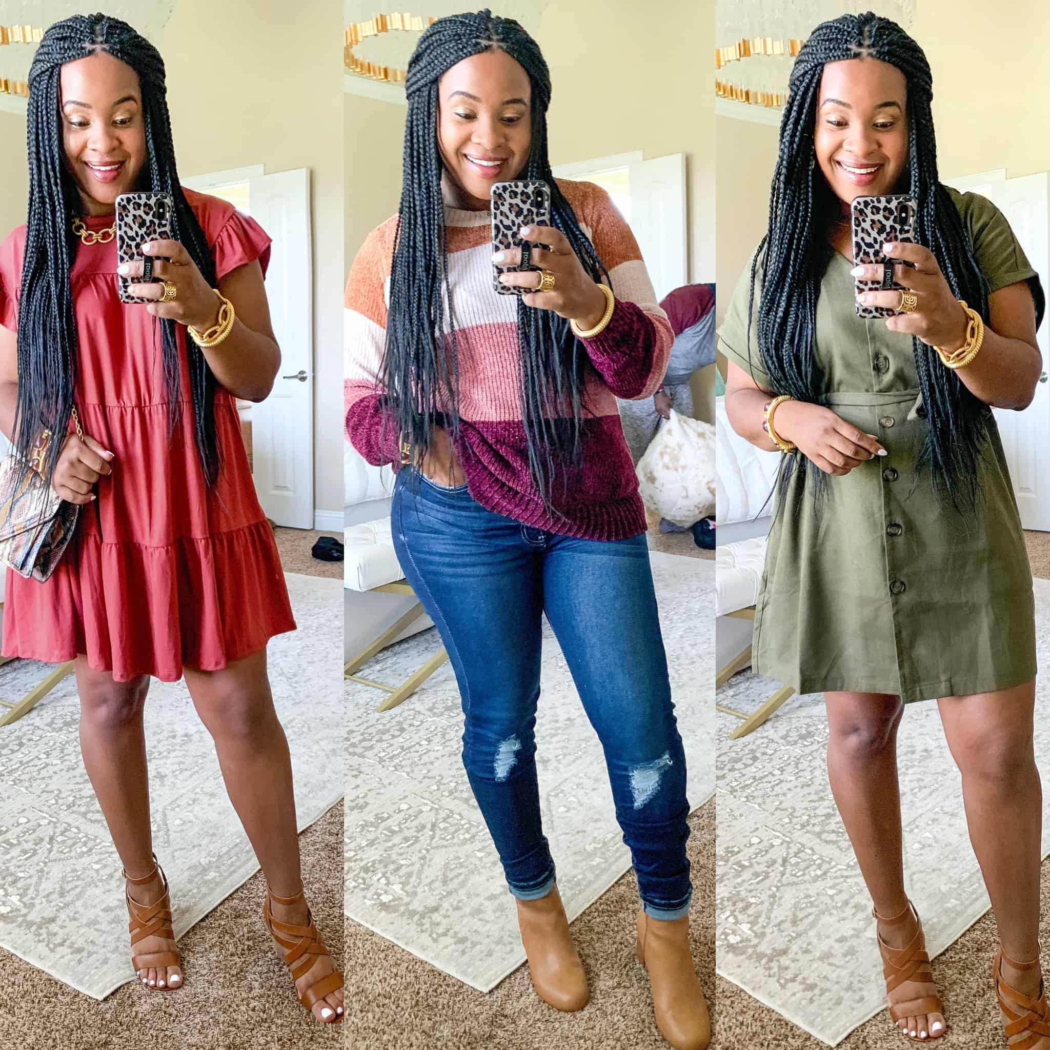 Red Dress Boutique Fall Collection 2 Try On by popular Dallas fashion blog, Glamorous Versatility: collage image of a woman wearing a Red Dress Boutique Sweet Persuasion Rosewood Dress, Go For Cozy Rose Multi Stripe Sweater, Have We Met Dark Wash Distressed Curvy Skinny Jeans, and Prove Your Actions Olive Dress.