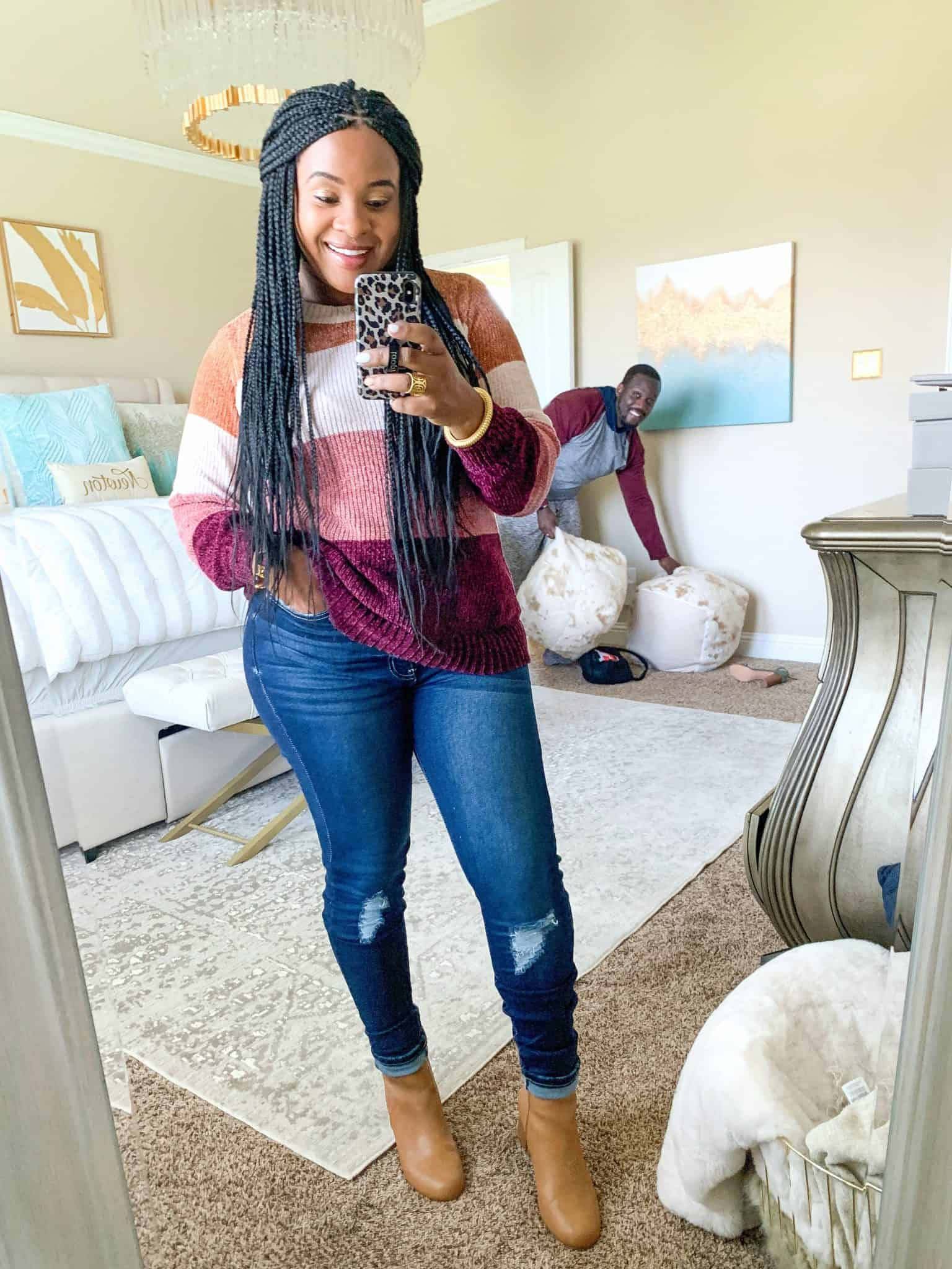 Red Dress Boutique Fall Collection 2 Try On by popular Dallas fashion blog, Glamorous Versatility: image of a woman wearing a Red Dress Boutique Have We Met Dark Wash Distressed Curvy Skinny Jeans and Go For Cozy Rose Multi Stripe Sweater.