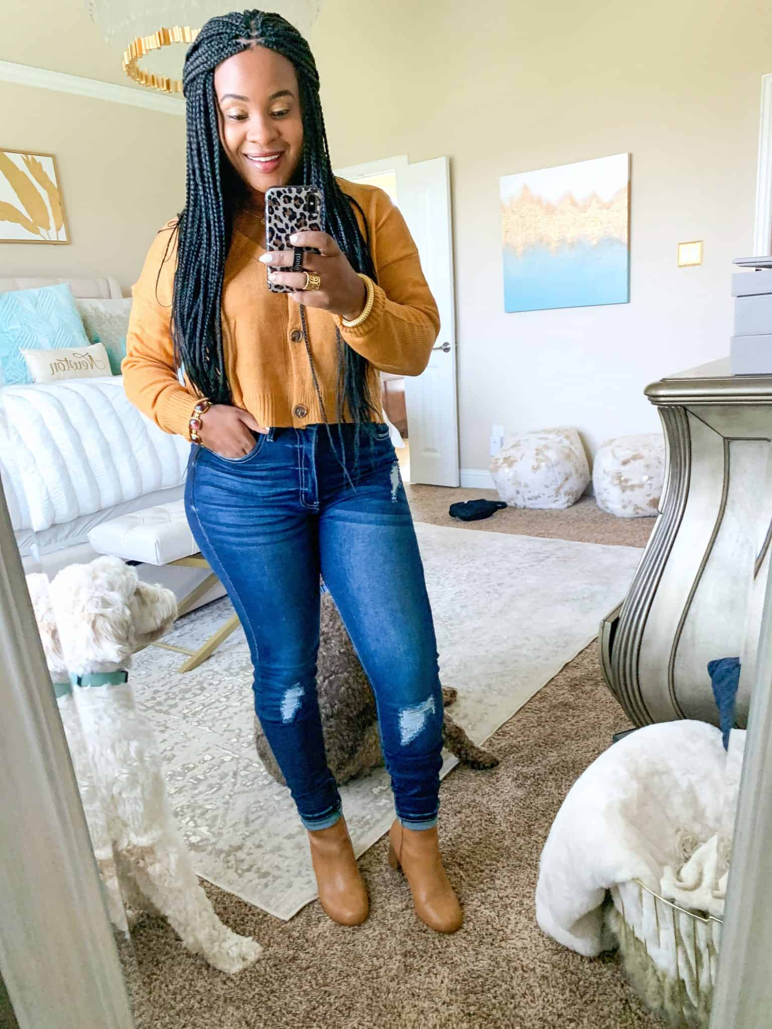 Red Dress Boutique Fall Collection 2 Try On by popular Dallas fashion blog, Glamorous Versatility: image of a woman wearing a Red Dress Boutique yellow sweater and Have We Met Dark Wash Distressed Curvy Skinny Jeans.