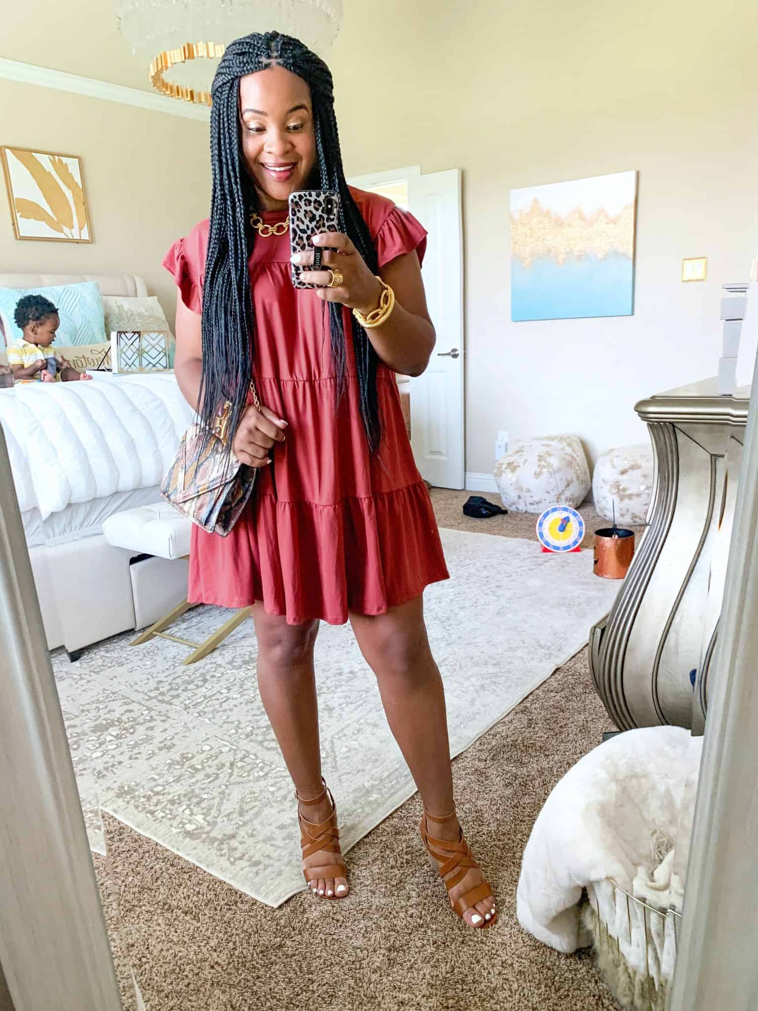 Red Dress Boutique Fall Collection 2 Try On by popular Dallas fashion blog, Glamorous Versatility: image of a woman wearing a Red Dress Boutique Sweet Persuasion Rosewood Dress.