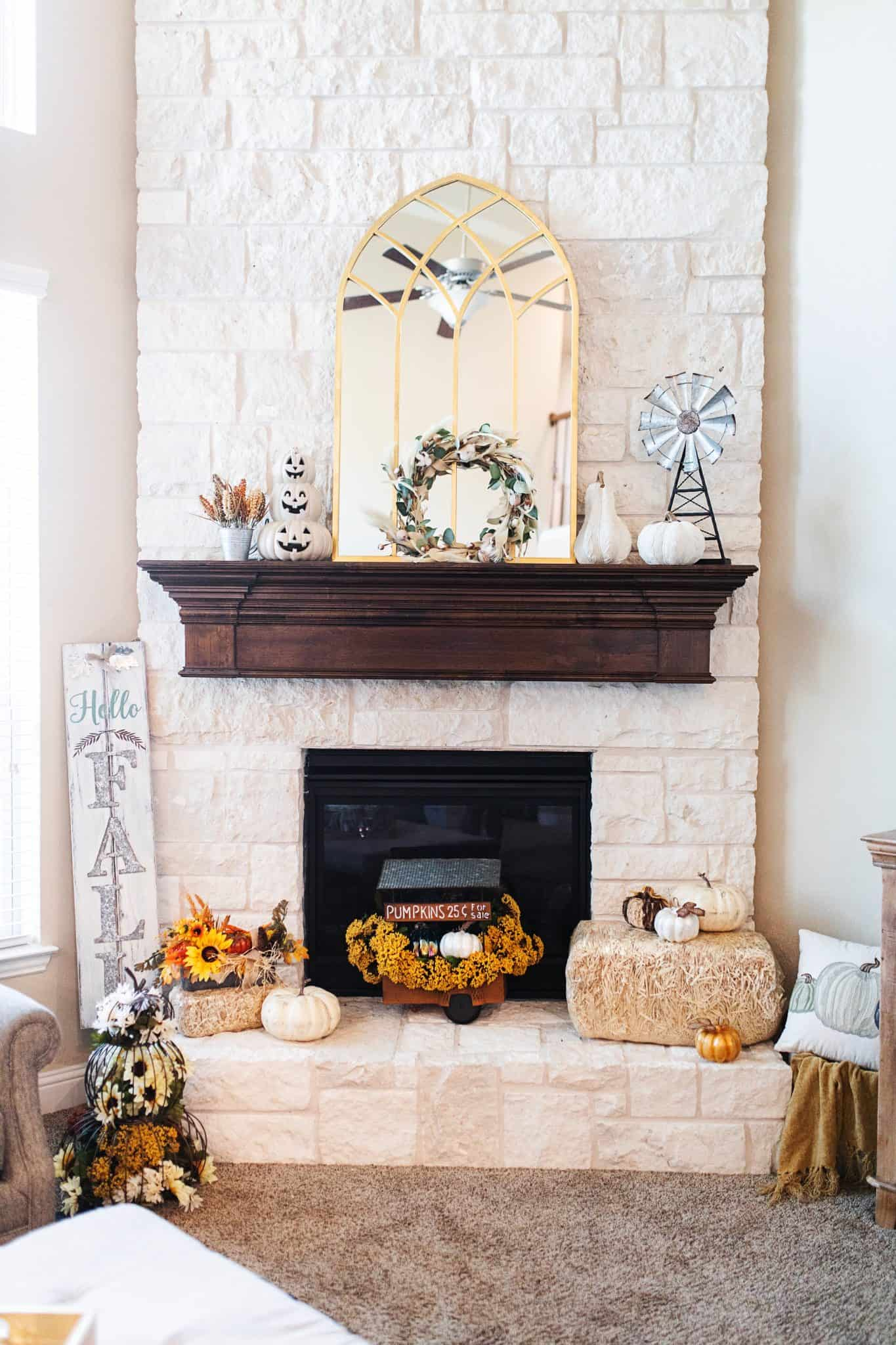 Fall Mantel Decor featured by top US life and style blog, Glamorous Versatility