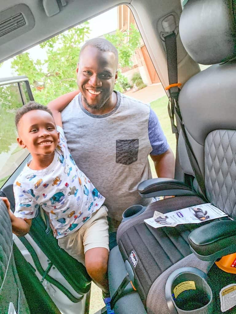 Favorite Chicco Products for Babies and Kids by popular life and style blog, Glamorous Versatility: image of a dad an son standing next to each other.
