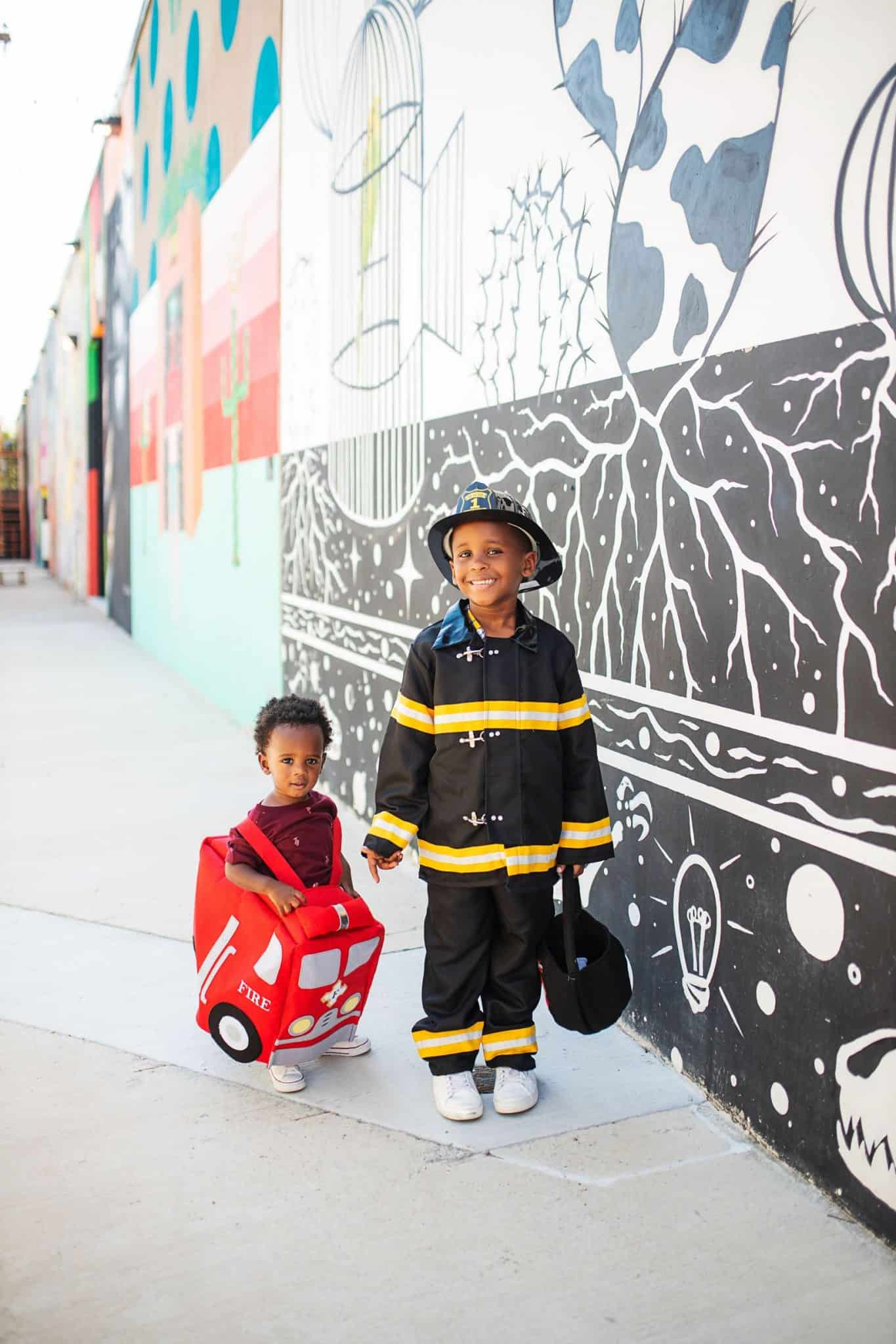 Cute Halloween Costumes for Boys featured by top US life and style blog, Glamorous Versatility: fire truck and fireman