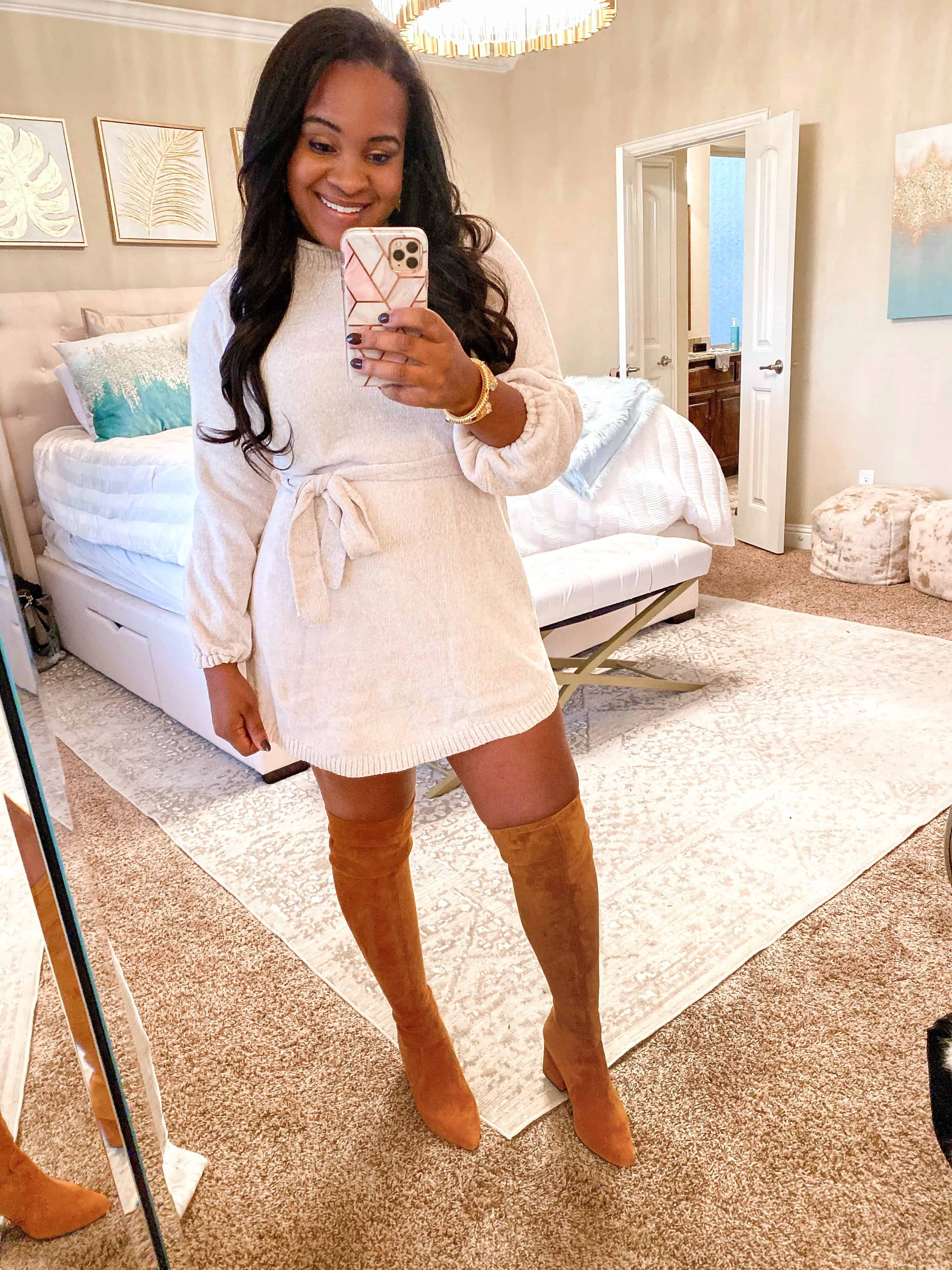 4 Cute Thanksgiving Outfit Ideas featured by top US fashion blog, Glamorous Versatility: image of a woman wearing a sweater dress and over the knee boots