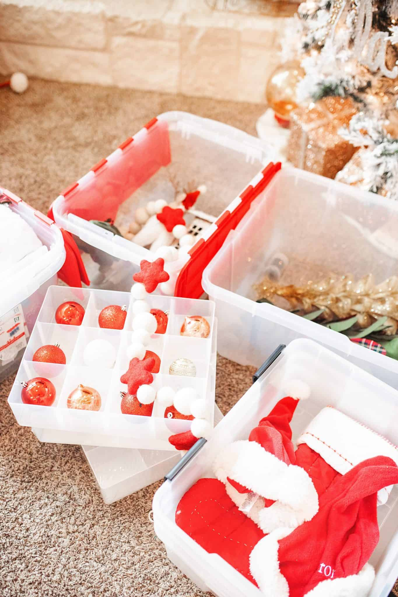 Top Home Organization Projects of 2019 by popular Dallas life and style blog, Glamorous Versatility: image of Christmas ornaments in storage bins.