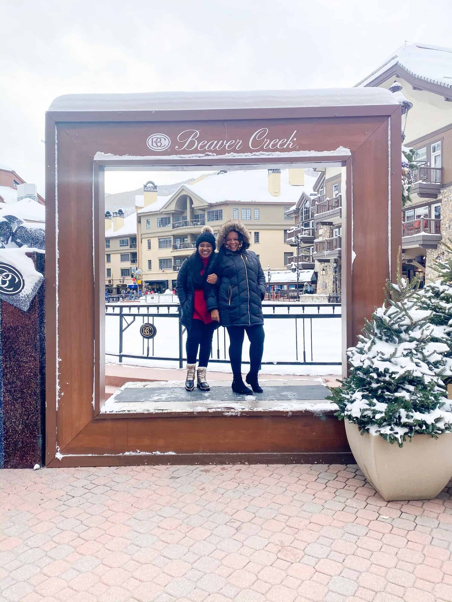 How to Plan a Ski Trip for Your Family by popular lifestyle blog, Glamorous Versatility: image of a mom and daughter at Beaver Creek Ski Resort in Avon, Colorado.