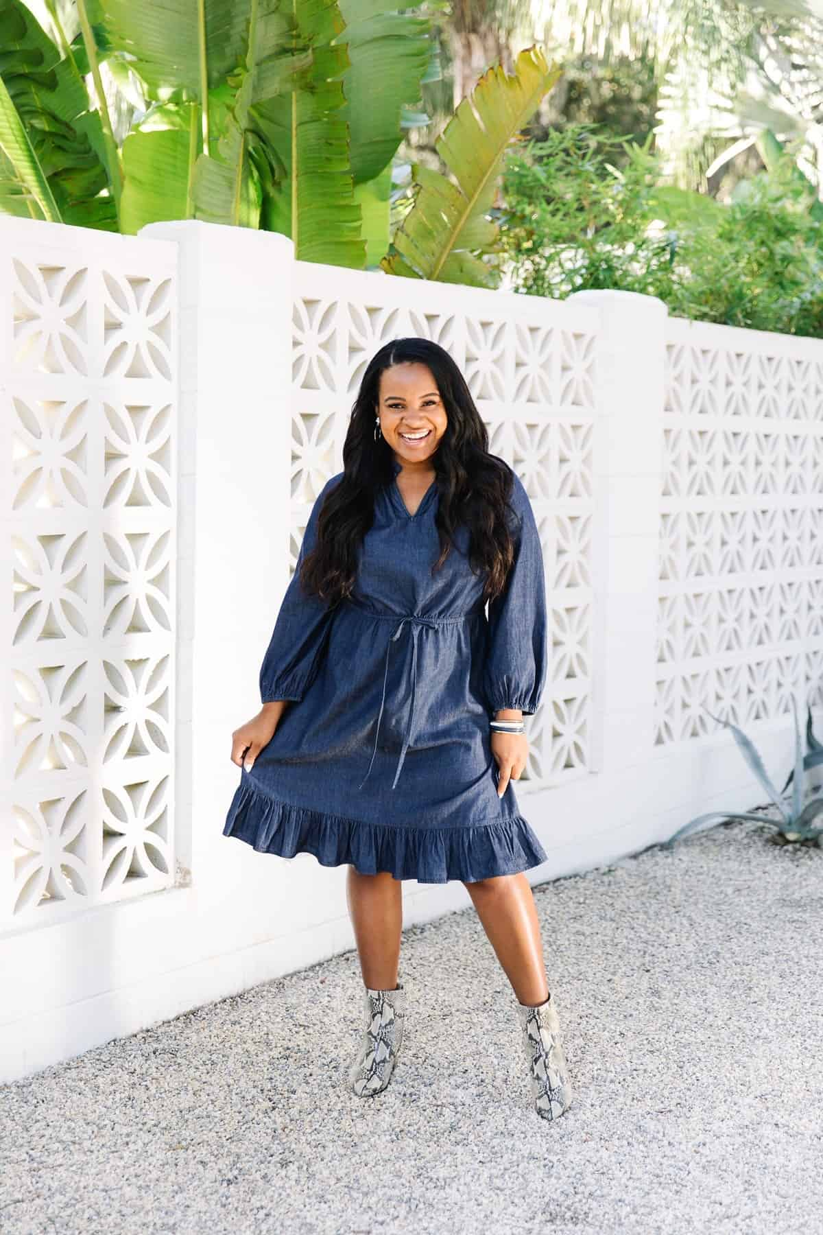 Behind The Scenes Draper James Trip by popular Dallas fashion blog, Glamorous Versatility: image of a woman wearing a Draper James Chambray Popover Dress at The Park on Saint Simons Island.