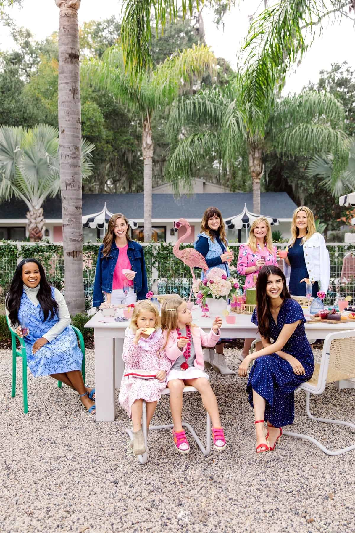 Behind The Scenes Draper James Trip by popular Dallas fashion blog, Glamorous Versatility: image of a group of women wearing  Draper James clothing at The Park on Saint Simons Island.