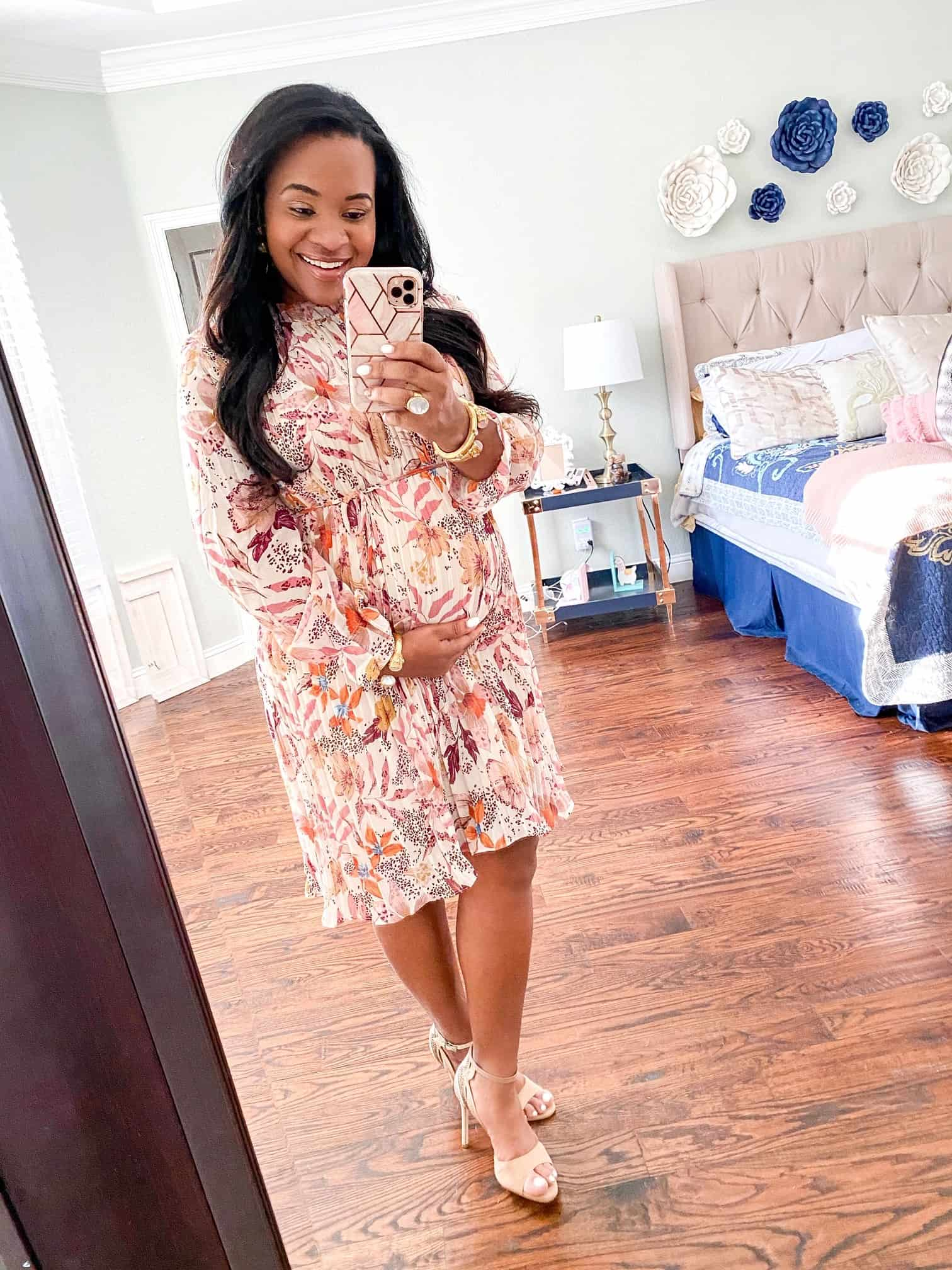 Red Dress Boutique Pink Hue Try-On by popular Dallas fashion blog, Glamorous Versatility: image of a woman wearing a Red Dress Boutique Straight For Your Heart Ivory Floral Print Dress AURA.