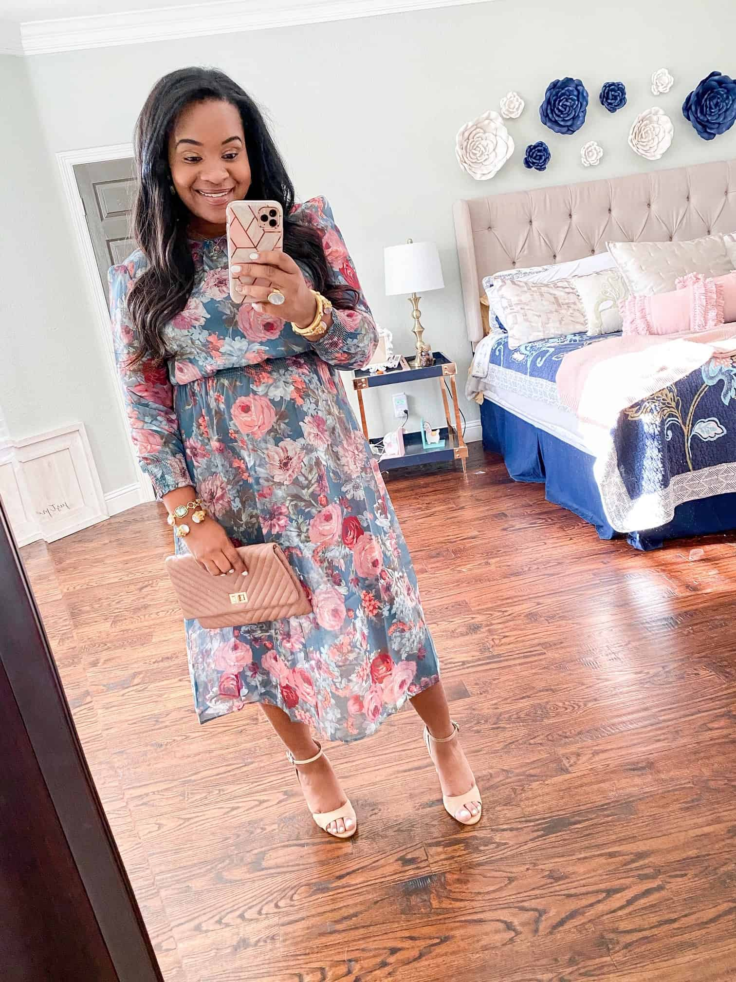 Red Dress Boutique Pink Hue Try-On by popular Dallas fashion blog, Glamorous Versatility: image of a woman wearing a Red Dress Boutique Fresh Approach Green Floral Print Midi Dress.