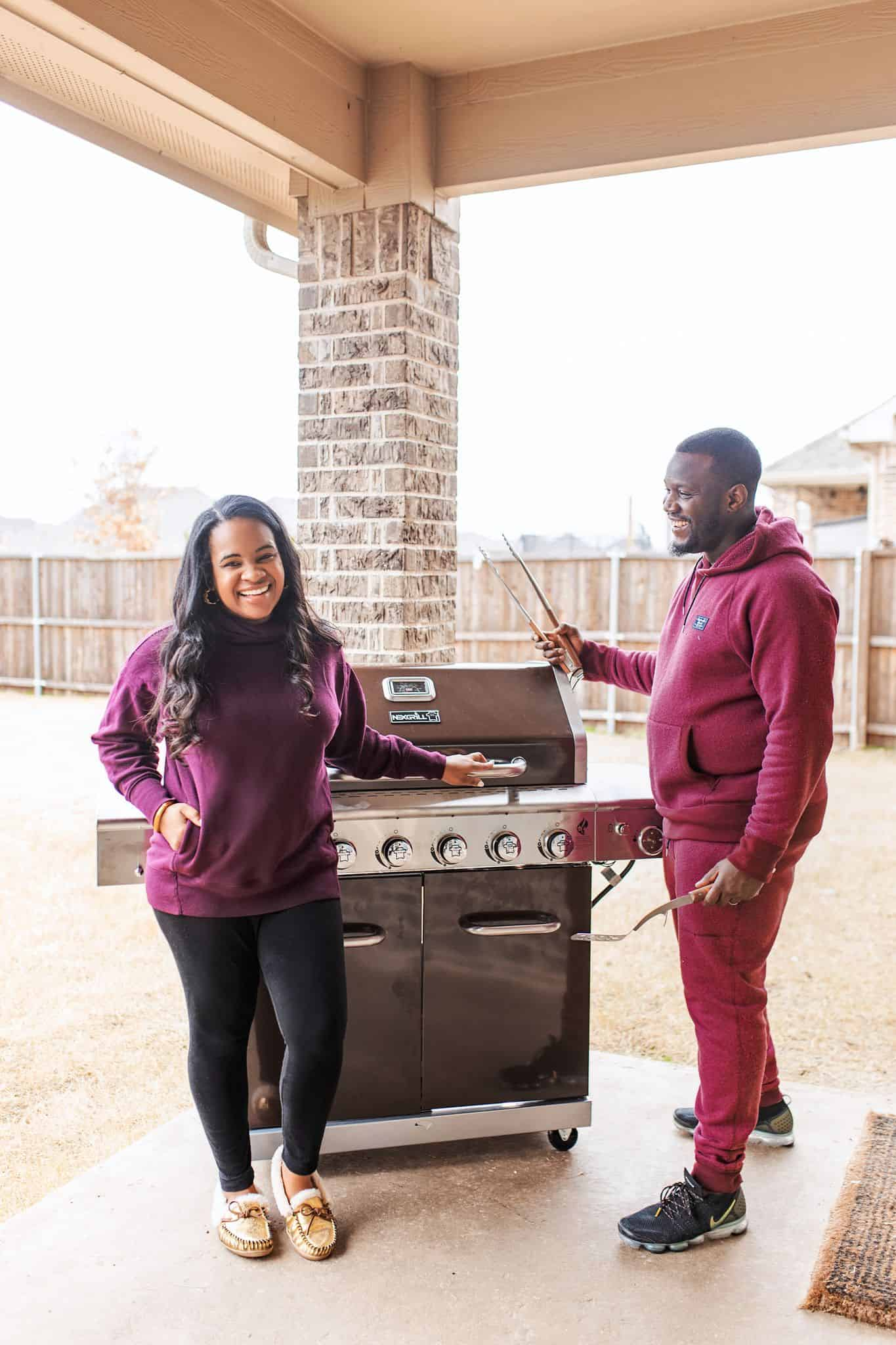 Home Depot Valentine's Day Gifts for Him by popular Dallas lifestyle blog, Glamorous Versatility: image of a man and woman standing next to a BBQ.