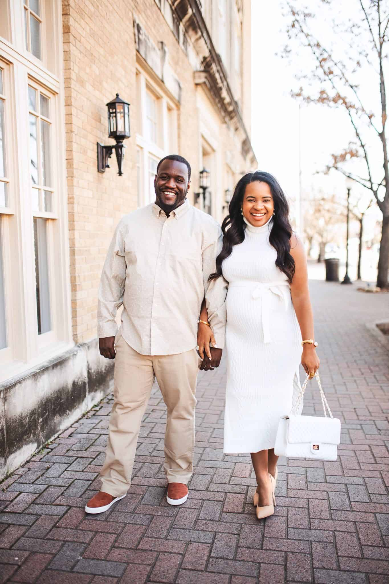 Tips for Moving to Another State by popular Nashville life and style blog, Glamorous Versatility: image of a husband and wife wearing matching white and cream outfits and holding hands.