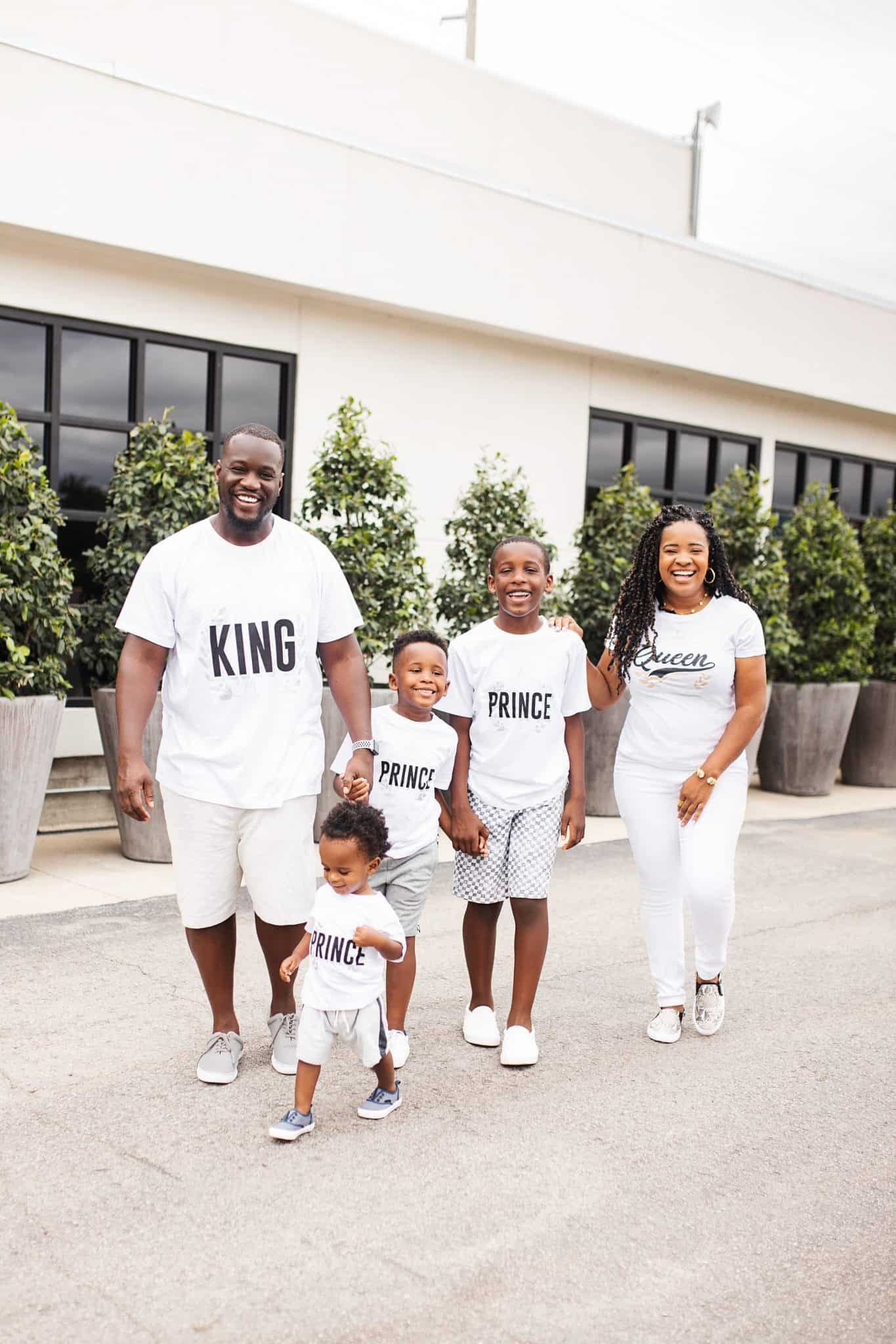 Home Building by popular Dallas lifestyle blog, Glamorous Versatility: image of a family walking together outside and wearing all white outfits.