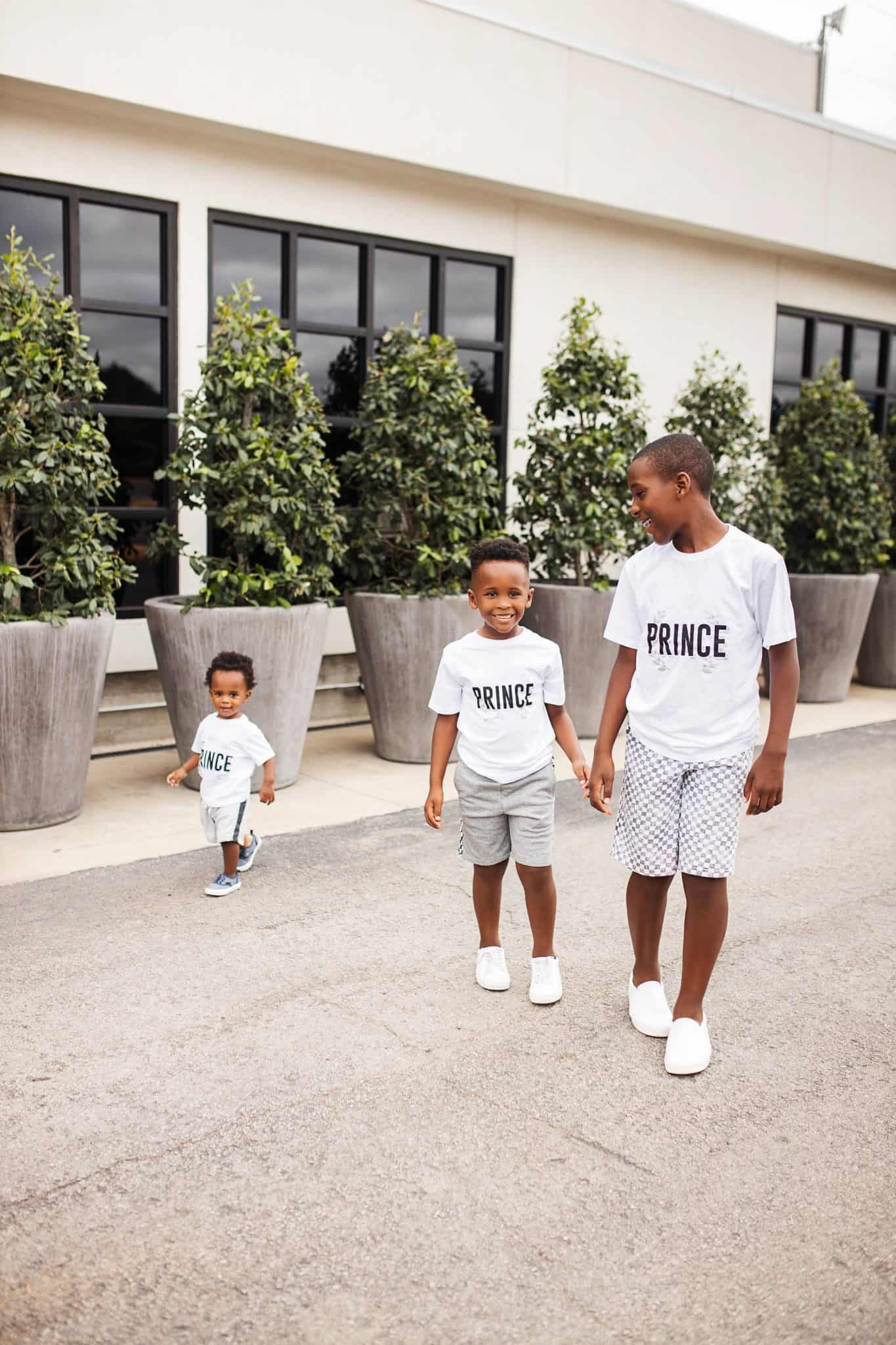 Home Building by popular Dallas lifestyle blog, Glamorous Versatility: image of three brothers walking together outside and wearing all white outfits.