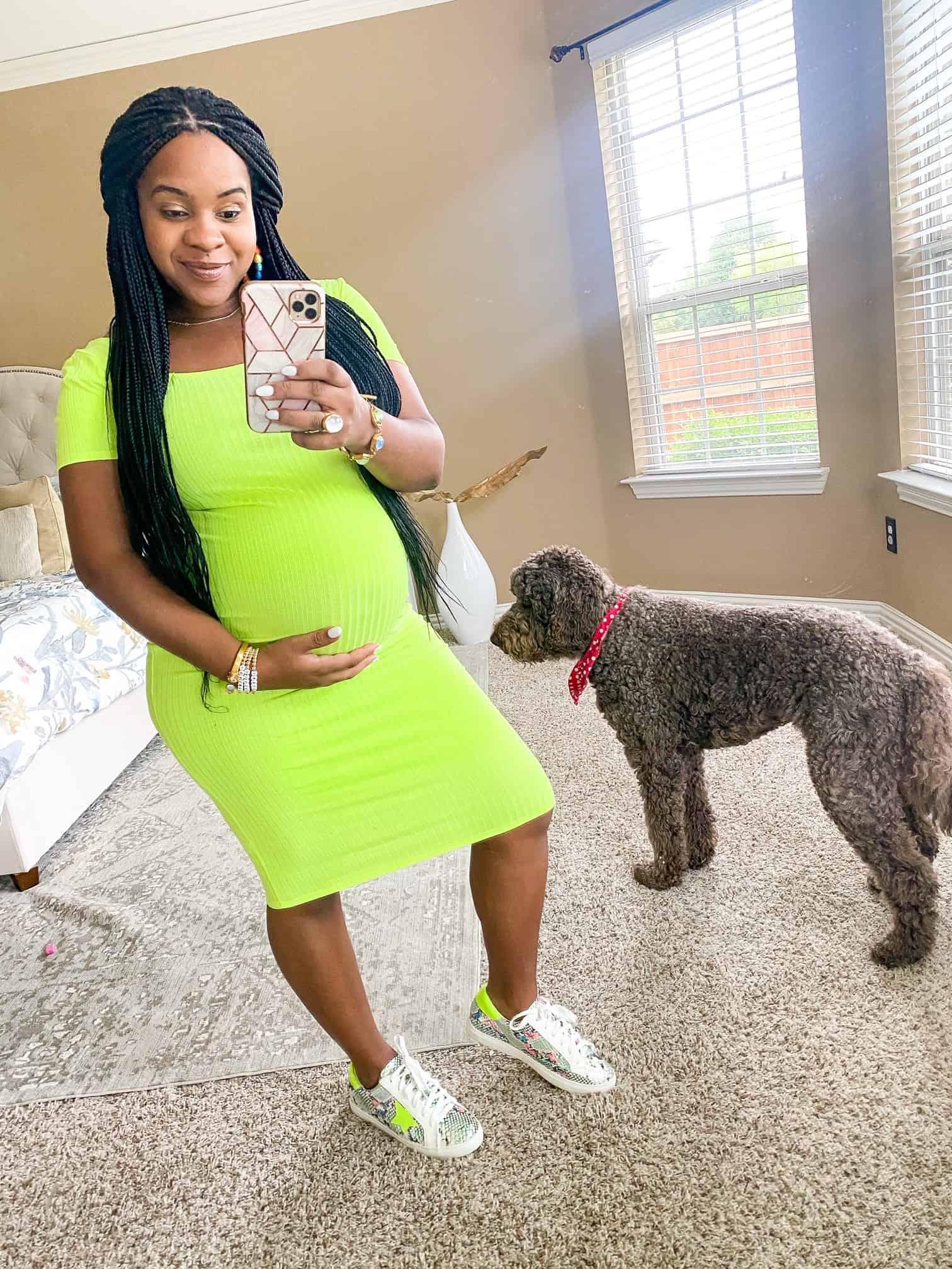 Maternity Dresses by popular Dallas fashion blog, Glamorous Versatility: image of a woman wearing a Pink Blush Waverleigh Neon Lime Short Sleeve Square Neck Midi Maternity Dress.