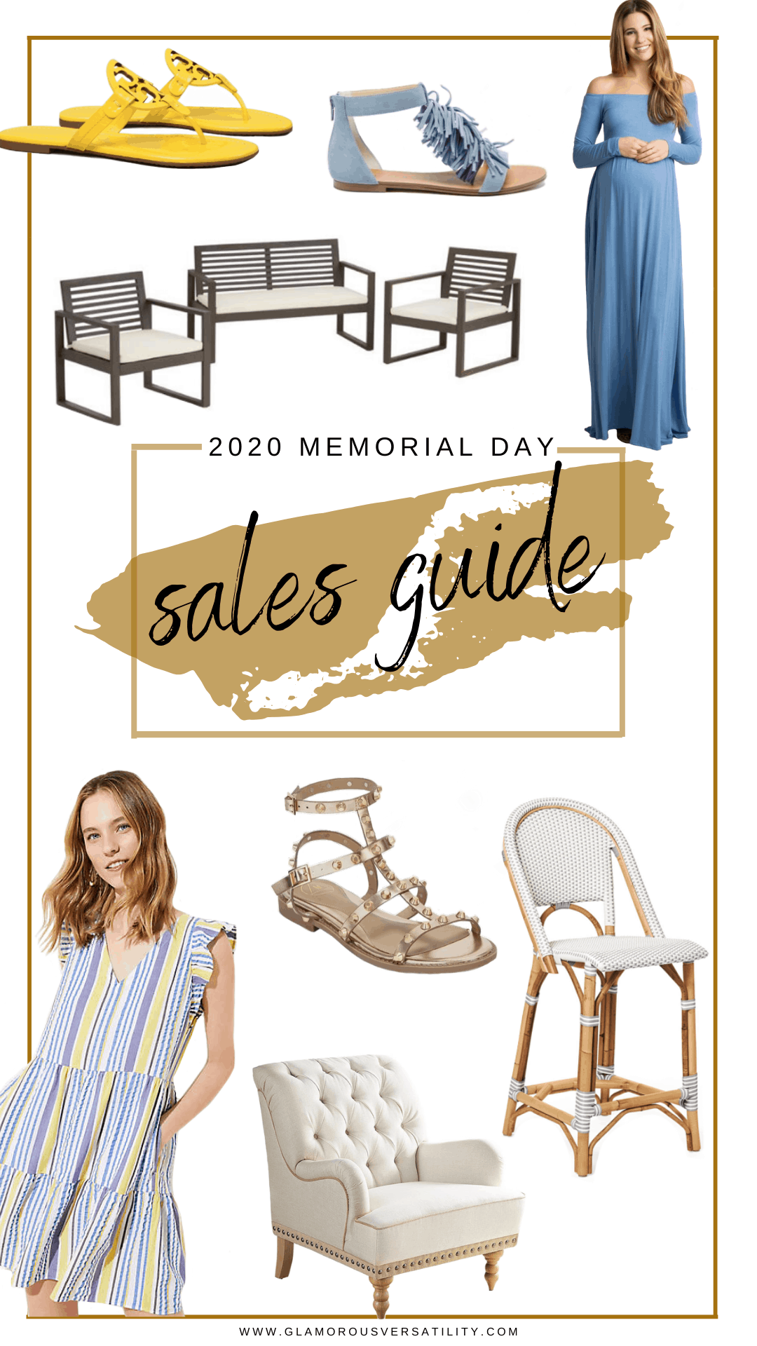 Memorial Day Sales by popular Dallas life and style blog, Glamorous Versatility: collage image of a Serena and Lily bar stool, patio furniture set, blue fringe sandals, Tori Birch slide sandals, studded gladiator sandals, tuft white armchair, blue maxi maternity dress, and tiered stripe dress with flutter sleeves.