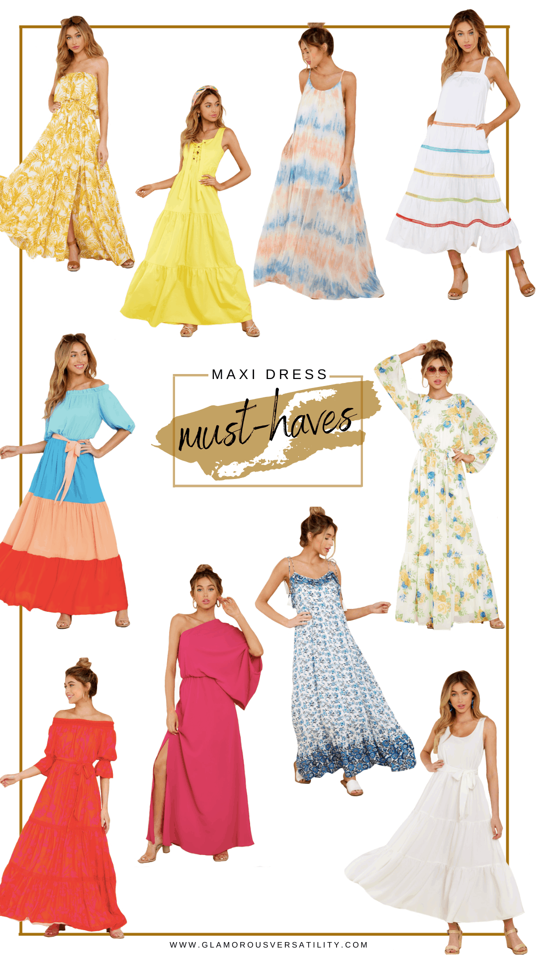Maxi Dresses by popular Dallas fashion blog, Glamorous Versatility: collage image of various maxi dresses.