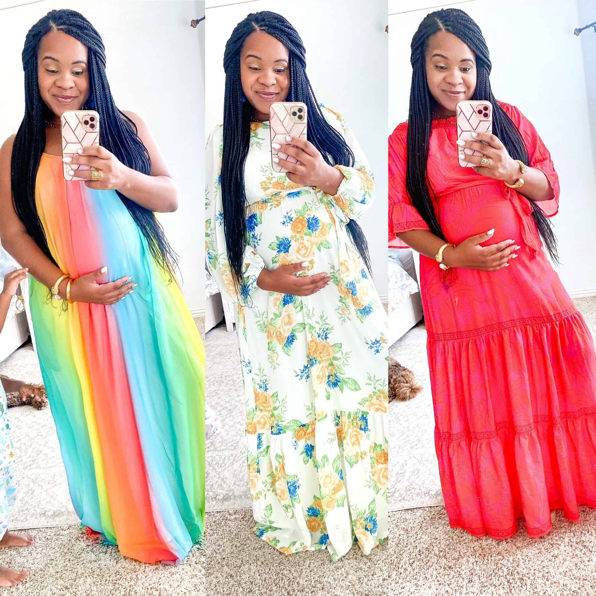 Maxi Dresses by popular Dallas fashion blog, Glamorous Versatility: collage image of a woman wearing a rainbow maxi, floral maxi and red maxi dress.