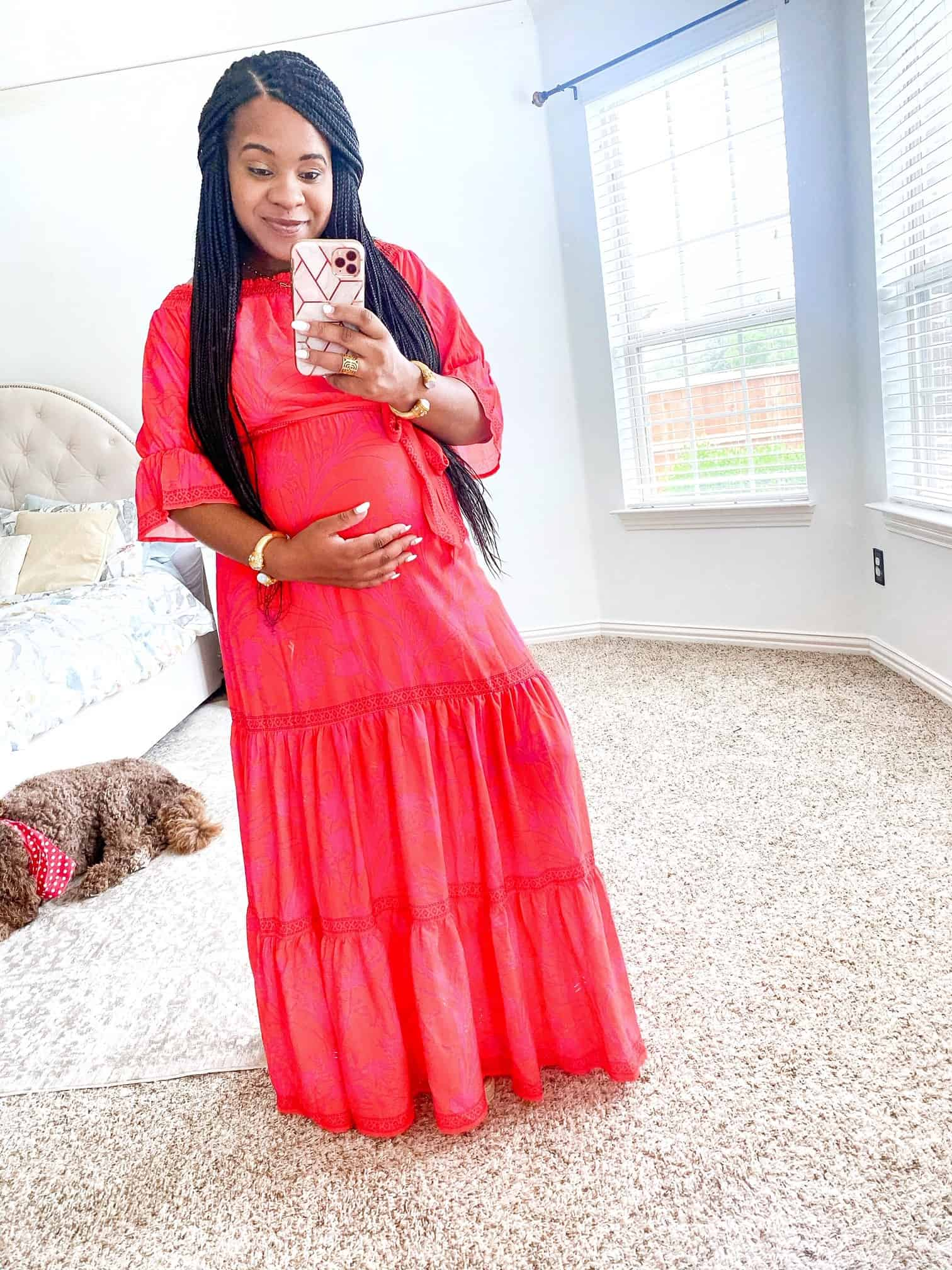 Maxi Dresses by popular Dallas fashion blog, Glamorous Versatility: image of a woman wearing a Red Dress Dancing In The Rain Red Print Maxi Dress AURA.