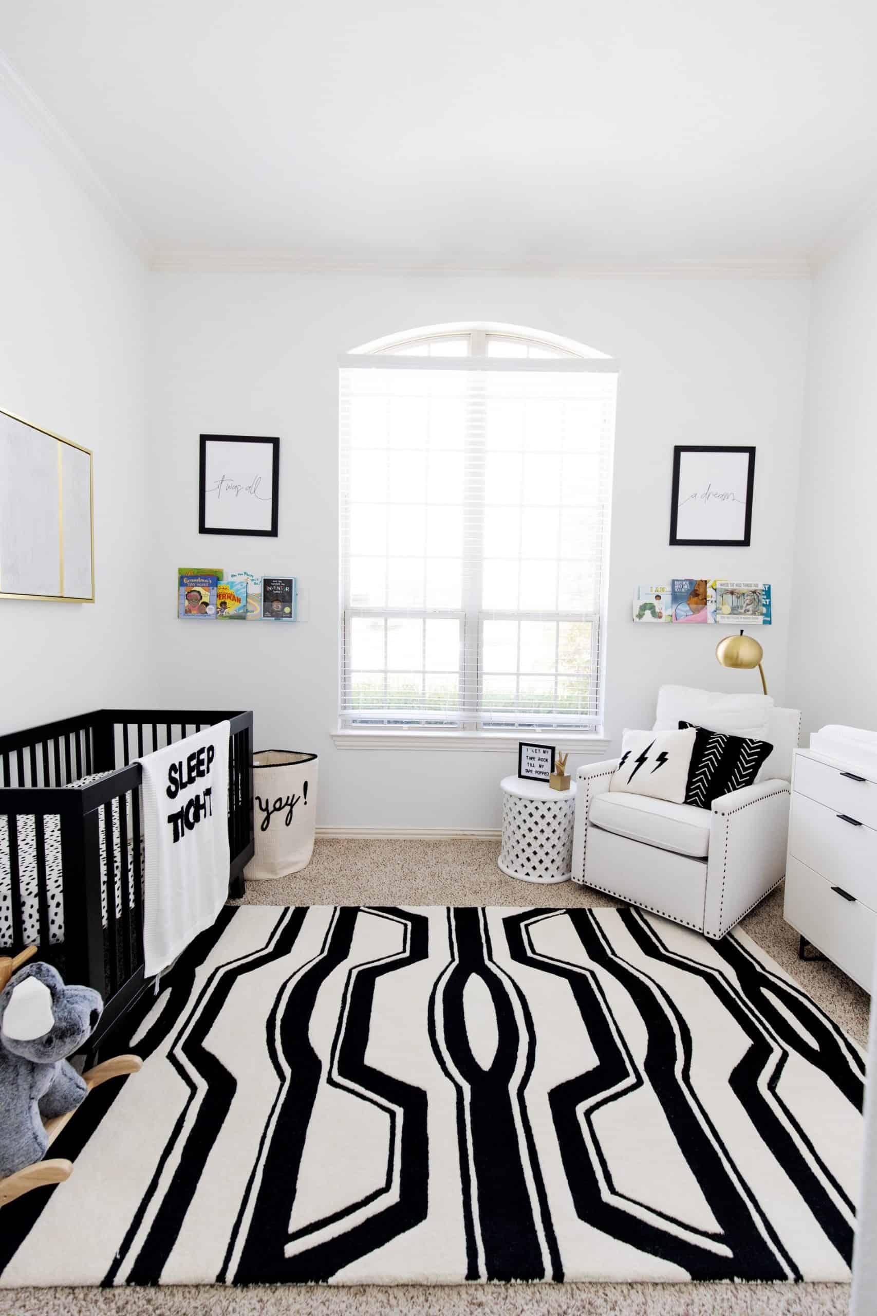 Pottery Barn Baby Registry by popular Dallas motherhood blog, Glamorous Versatility: image of a modern black and white baby nursery.