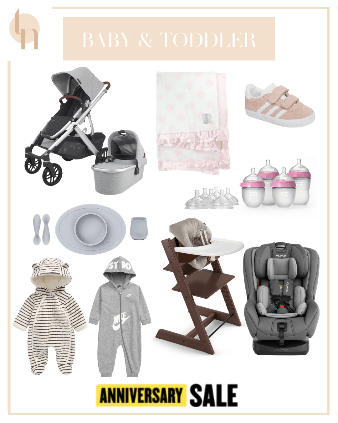 Nordstrom Anniversary Sale by popular Dallas life and style blog, Glamorous Versatility: collage image of NunaRAVA™ Flame Retardant Free Convertible Car Sea, NunaMIXX™ next Stroller, Uppa Baby Vista V2 Stella Stroller with Bassinet, NunaPIPA™ Lite LX Infant Car Seat & Base  Baby Hooded Bunting, Stokke Tripp Trapp Chair, Baby set, Cushion, & Tray Set, Nike Baby Clothing, Little Giraffe Luxe Dream Dot Faux Fur Baby Blanket, Maxi-Cosi Lara Ultra Compact Stroller, Maxi-CosiZelia Max 5-in-1 Modular Travel System, Maxi-Cosi Mico Max 30 Infant Car Seat, and Adidas Gazelle Sneaker.