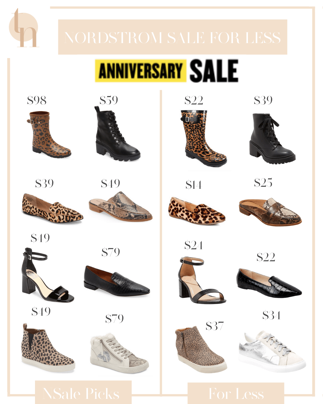 Nordstrom Anniversary Sale by popular Dallas fashion blog, Glamorous Versatility: collage image of leopard print rain boots, black heel combat boots, leopard print mules, snake skin mules, black ankle strap sandals, black loafers, leopard print sneakers, and white sneakers.