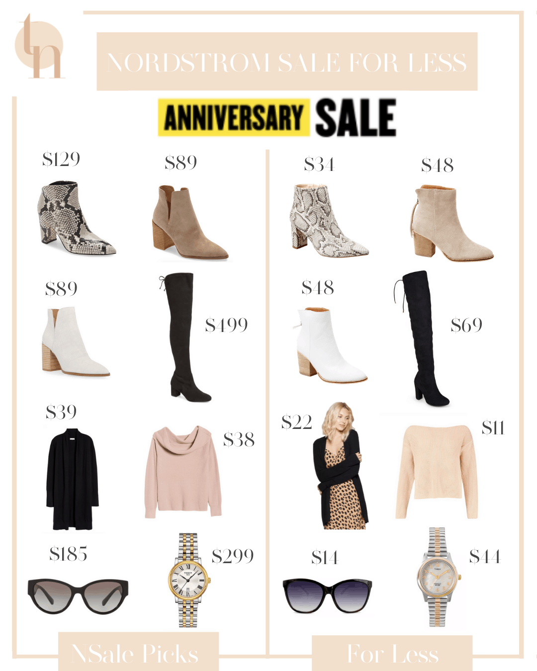 Nordstrom Anniversary Sale by popular Dallas fashion blog, Glamorous Versatility: collage image of white ankle books, black over the knee boots, snakeskin ankle boots, tan suede ankle boots, black cardigan, pink slouch neck sweater, black frame sunglasses, and gold and silver watch.