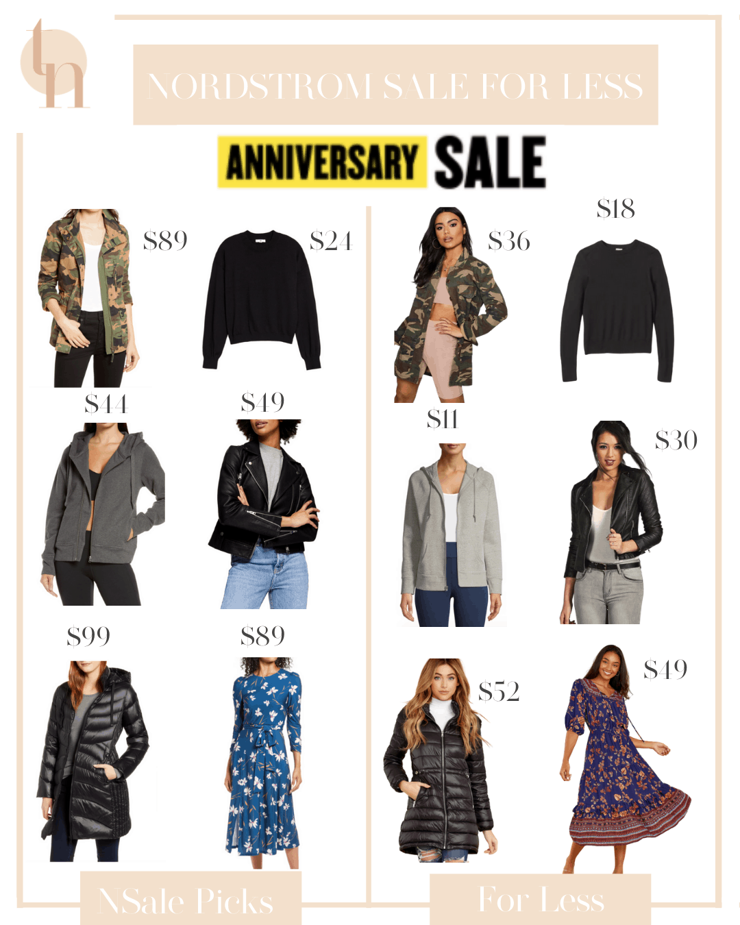 Nordstrom Anniversary Sale by popular Dallas fashion blog, Glamorous Versatility: collage image of a camo jacket, grey activewear jacket, black leather motto jacket, black sweater, long black bubble coat, and a floral midi dress.