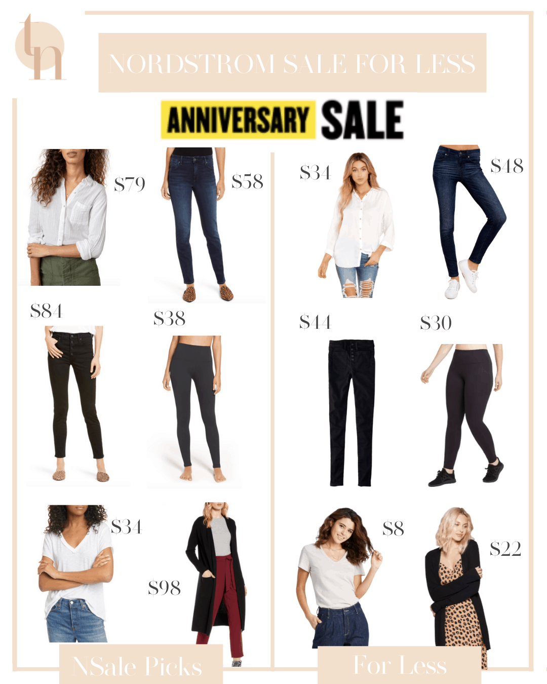 Nordstrom Anniversary Sale by popular Dallas fashion blog, Glamorous Versatility: collage image of white button down blouse, skinny jeans, black leggings, white t-shirt, and long black cardigan.