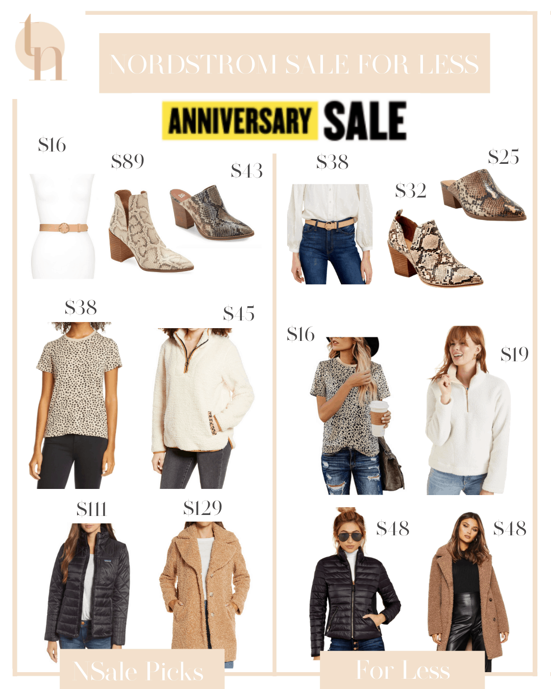 Nordstrom Anniversary Sale by popular Dallas fashion blog, Glamorous Versatility: collage image of a tan belt, snake skin ankle boots, snake skin heel mules, leopard print t-shirt, wubby fleece pull over, black quilted jacket, and tan teddy coat.