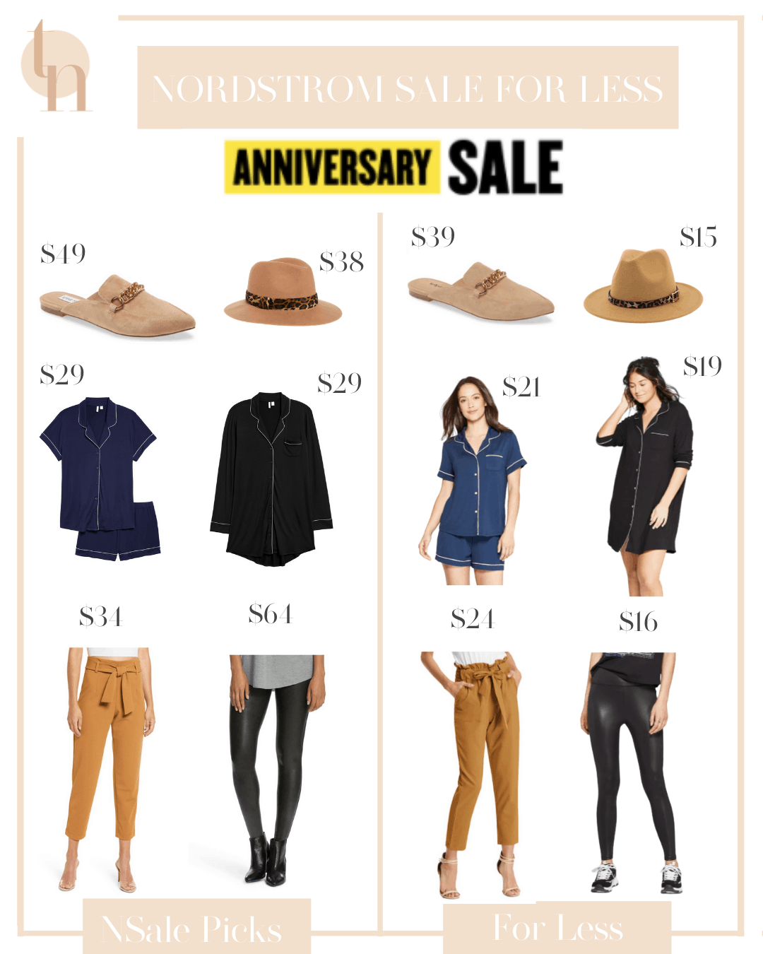 Nordstrom Anniversary Sale by popular Dallas fashion blog, Glamorous Versatility: collage image of chain mules, tan fedora, blue and black pajama sets, paper bag pants, and faux leather leggings.
