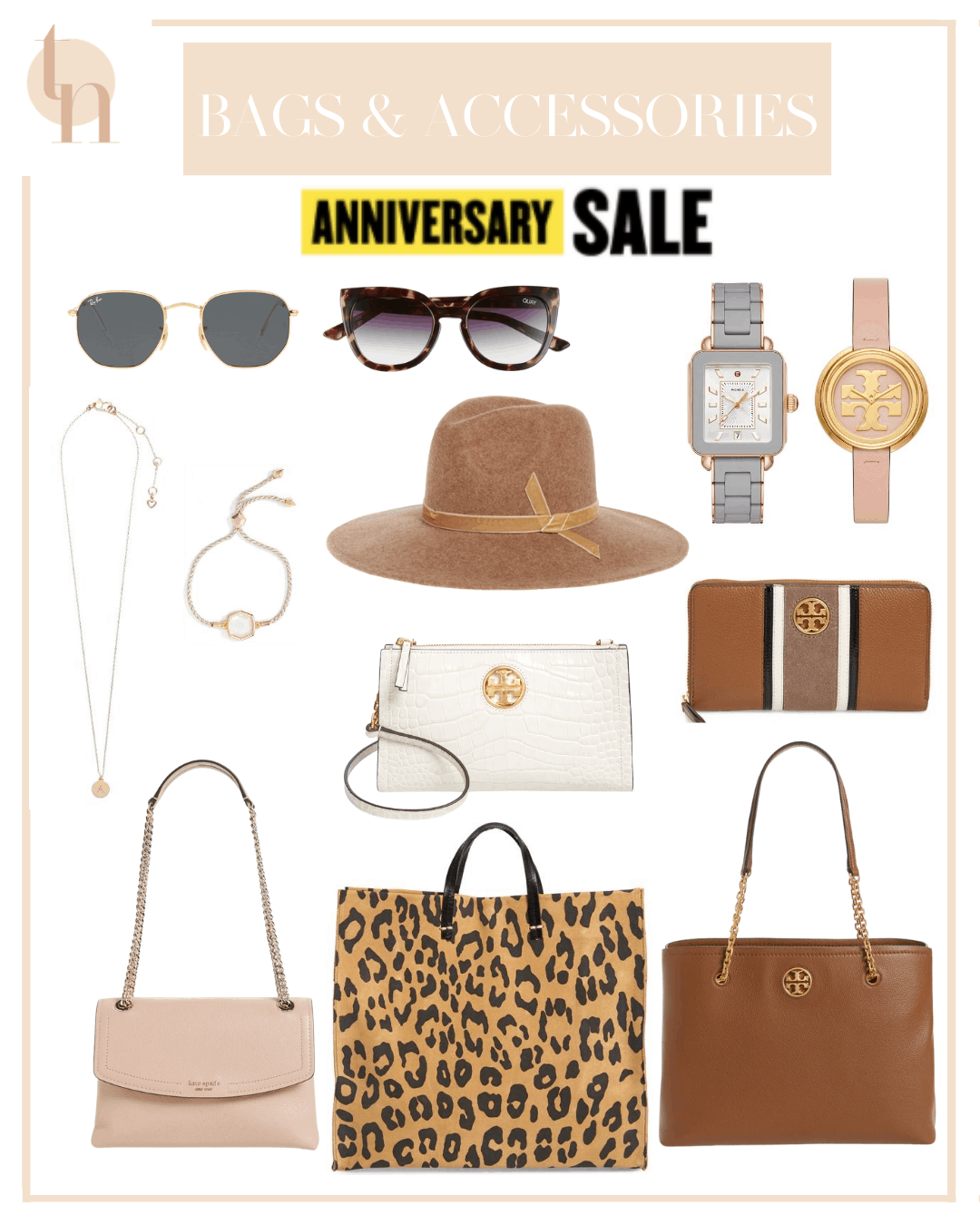 Nordstrom Anniversary Sale by popular Dallas life and style blog, Glamorous Versatility: collage image of Nordstrom Tory Burch Deco Wallet, Tory Burch Black Wallet, Tory Burch Tote, Kate Spade Initial Necklace, Kate Spade Handbag, Ray-Ban Sunglasses, Quay Sunglasses, Clare V. Leopard Print Tote, Leather Belt, Tory Burch Leather Wallet, Tory Burch Gold Watch, and Kendra Scott Bracelets.
