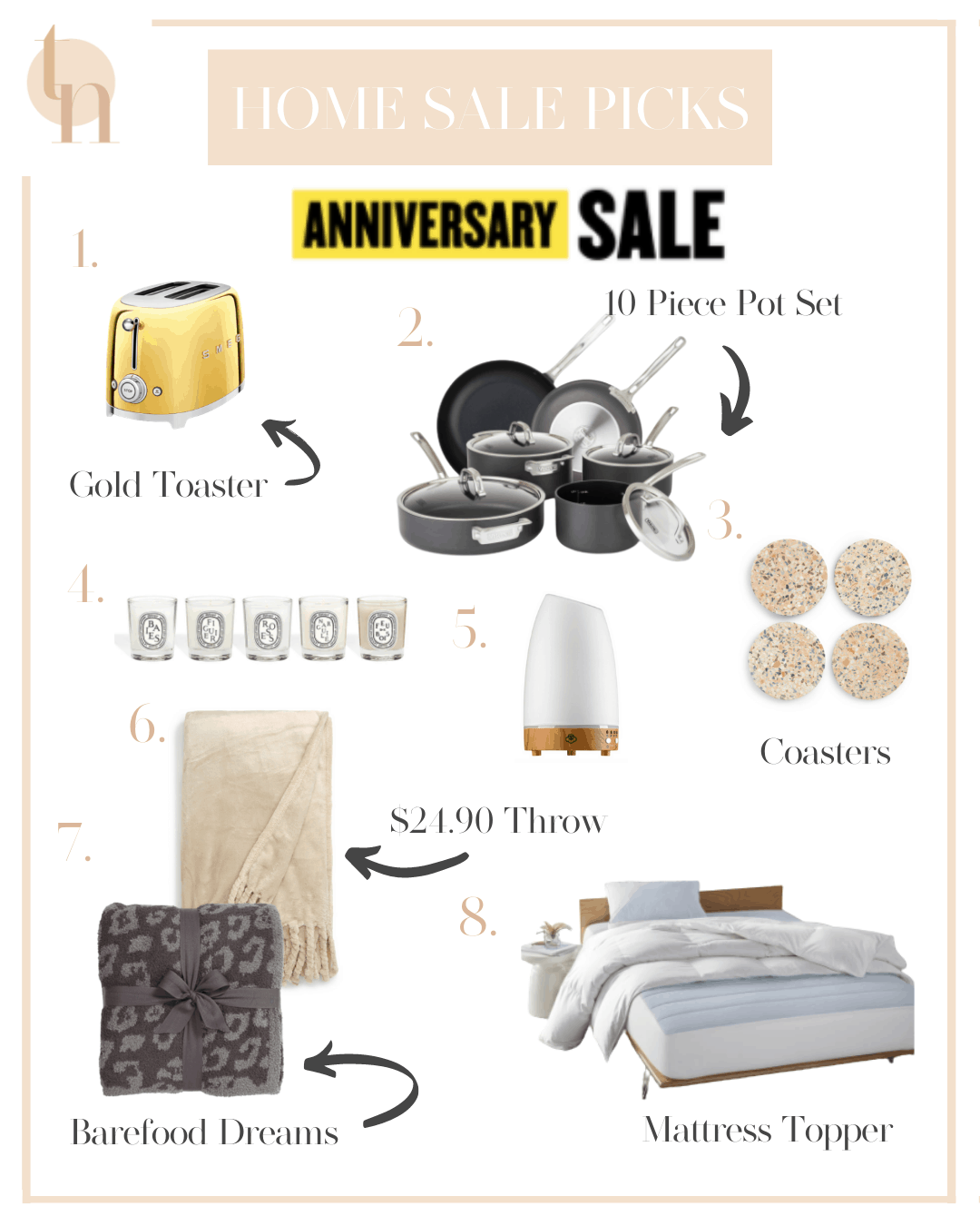 Nordstrom Anniversary Sale by popular Dallas life and style blog, Glamorous Versatility: collage image of Bliss Plush Throw, Barefoot Dreams Animal Print Blanket, Serene house Diffuser, Smeg Gold Toaster, Viking 10 piece nonstick set, Viking Cast Iron Griddle, and Mattress Pad.