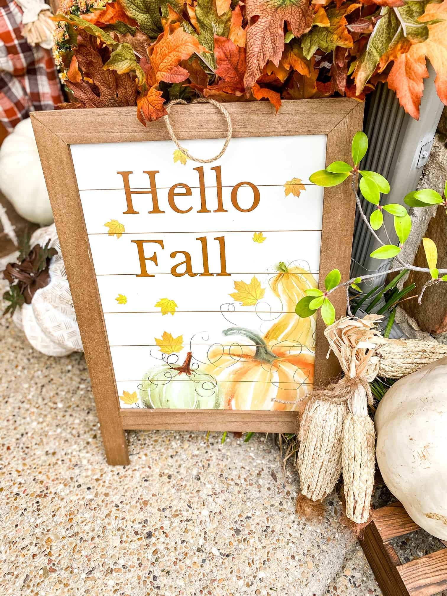 Fall Front Porch Ideas by popular Dallas life and style blog, Glamorous Versatility: image of two doodle breed dogs sitting on a front porch that decorated with a At Home scarecrow, At home Give Thanks sign, At Home pumpkin Welcome sign, At Home wagon, At home Styrofoam pumpkins, potted mums, At Home Hello Fall wooden sign, and At Home fall wreath.
