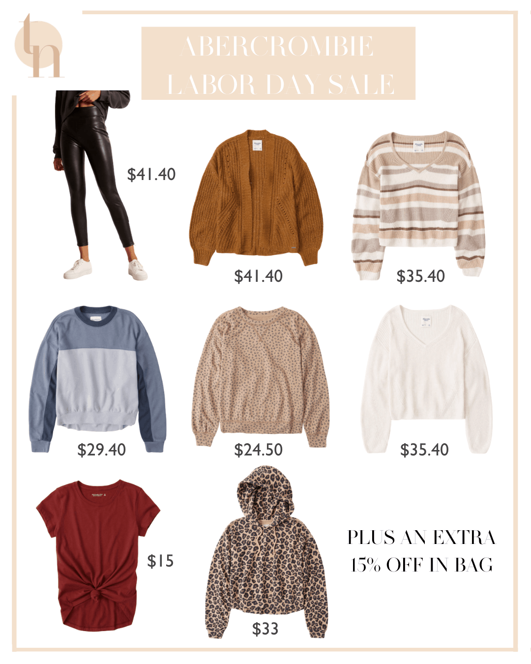 Labor Day Sales by popular Dallas life and style blog, Glamorous Versatility: collage image of Abercrombie and Fitch sweaters, leather pants, hoodies, and pullovers.