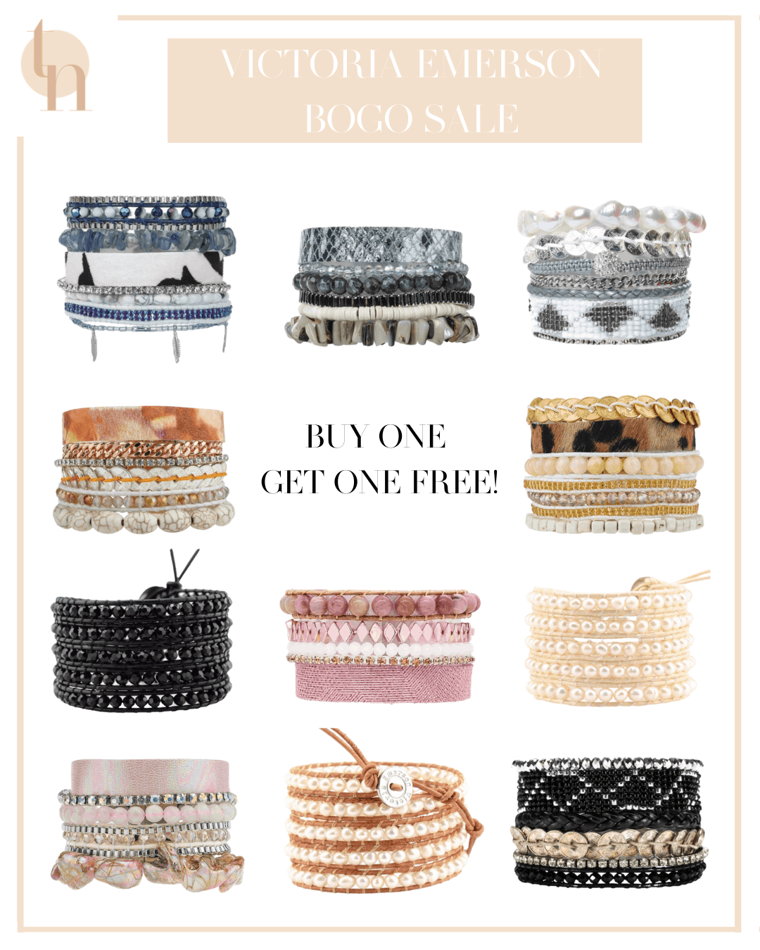 Labor Day Sales by popular Dallas life and style blog, Glamorous Versatility: collage image of Victoria Emerson bracelets and wraps.
