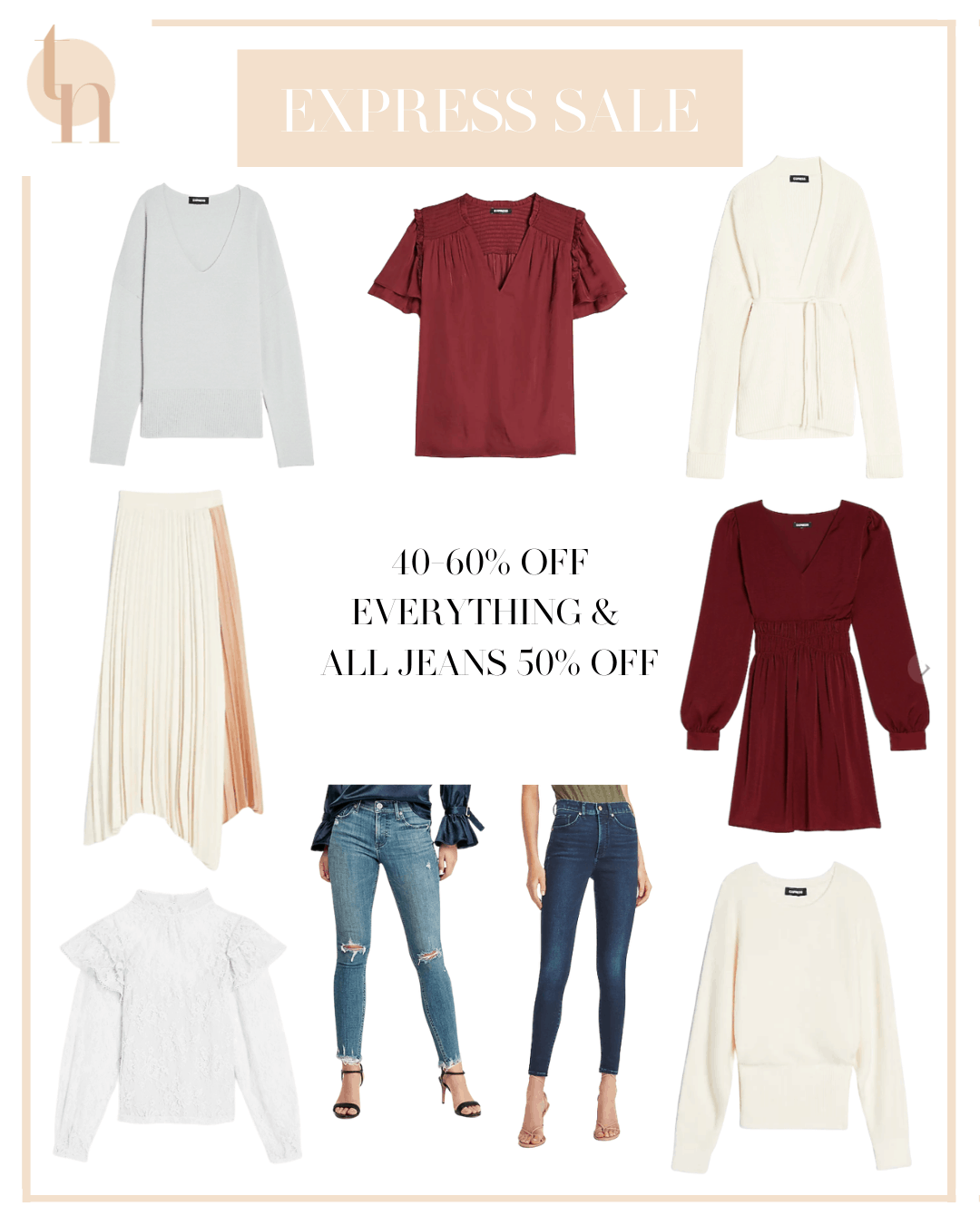Labor Day Sales by popular Dallas life and style blog, Glamorous Versatility: collage image of Express jeans, sweaters, pleated skirt, maroon dress, and white ruffle top.
