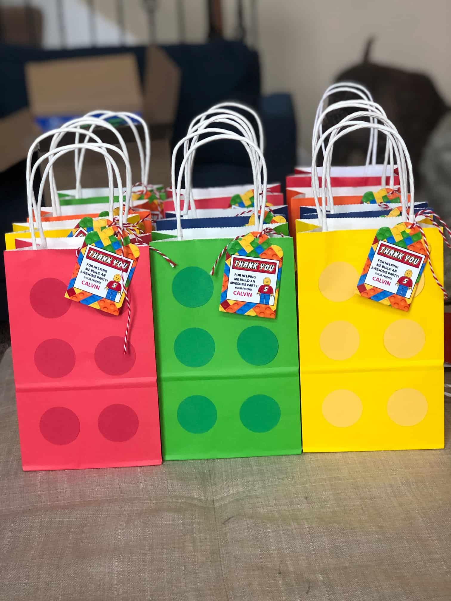 Etsy Favorites by popular Dallas life and style blog, Glamorous Versatility: image of Lego gift bags and Lego thank you tags.