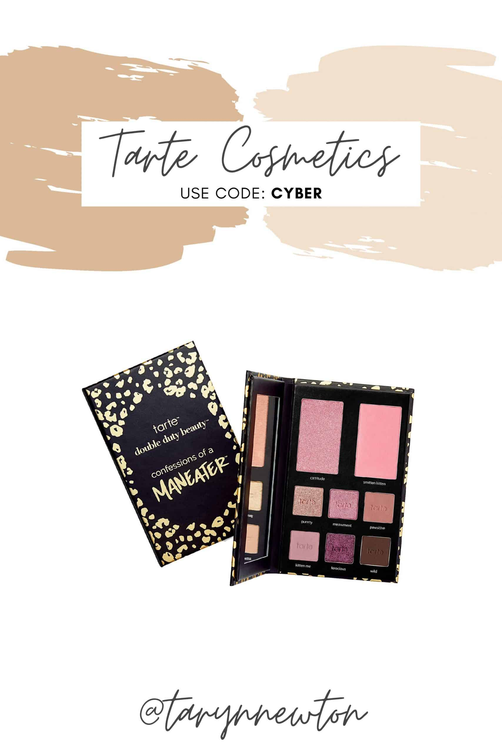 Black Friday Guide by popular Dallas life and style blog, Glamorous Versatility: Pinterest image of Tarte Cosmetics.